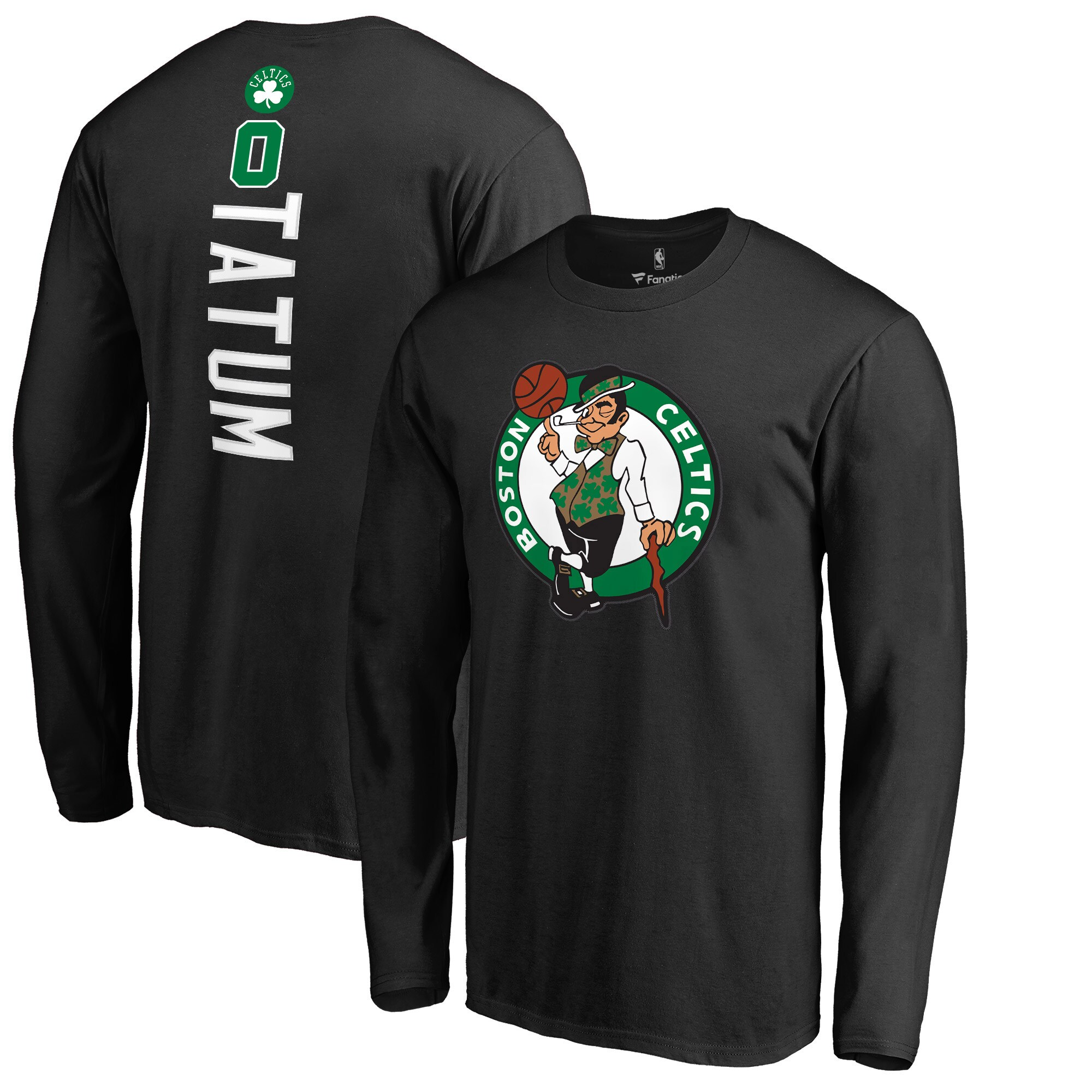 Jayson Tatum Boston Celtics Fanatics Branded Backer Name & Number Long Sleeve T-Shirt - Black