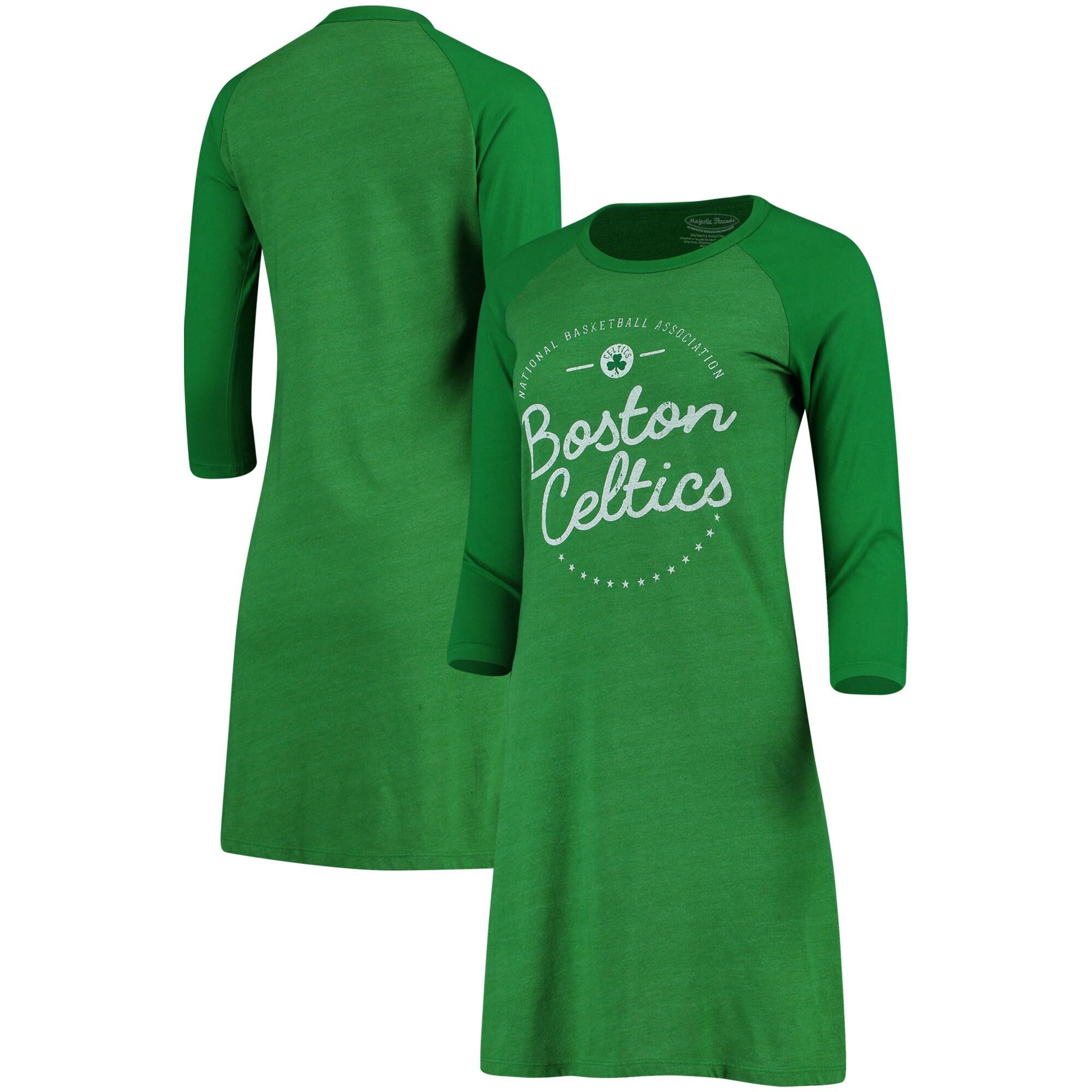 Boston Celtics Majestic Threads Women's Tri-Blend 3/4-Sleeve Raglan Dress - Kelly Green