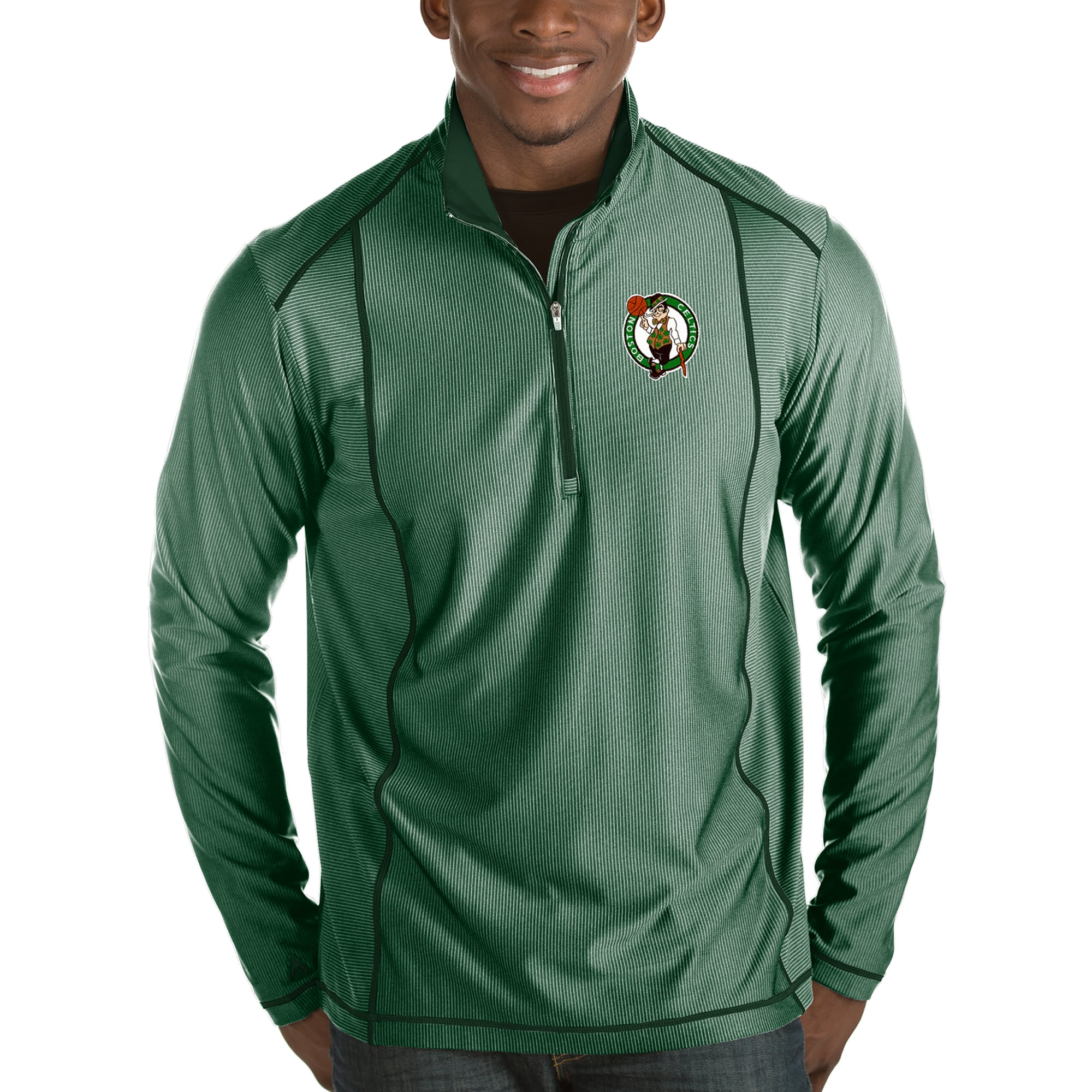 Boston Celtics Antigua Tempo Half-Zip Pullover Jacket - Green