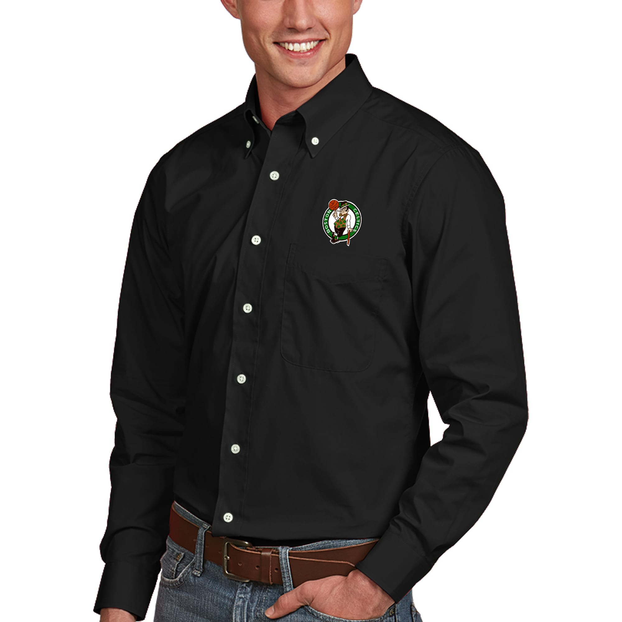Boston Celtics Antigua Dynasty Button-Down Long Sleeve Shirt - Black