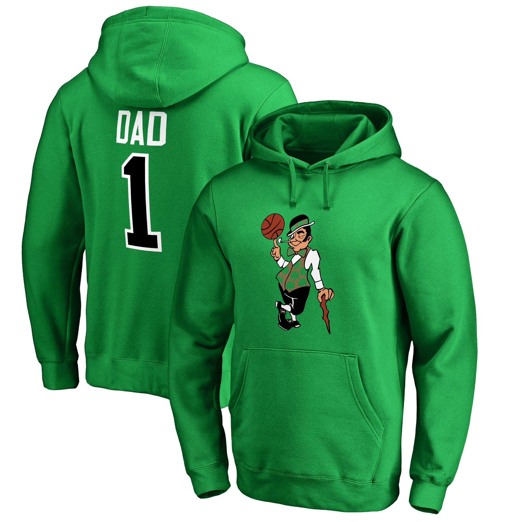 Boston Celtics #1 Dad Pullover Hoodie - Kelly Green