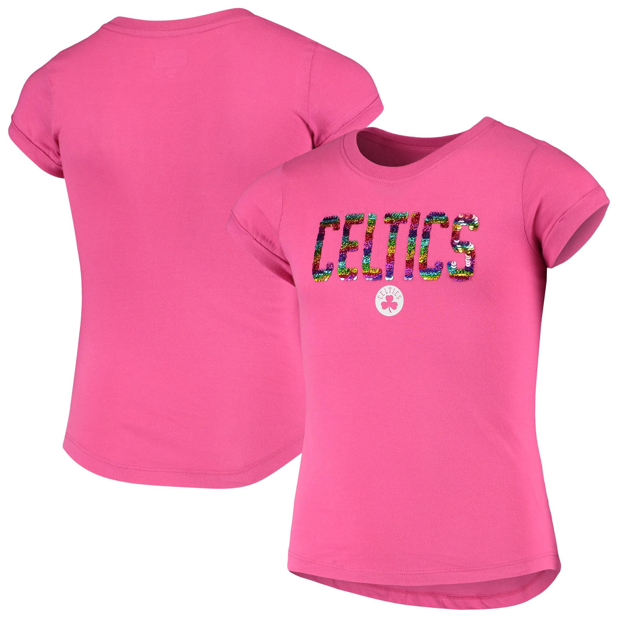 Boston Celtics New Era Girls Youth Sequin Logo Baby Jersey T-Shirt - Pink