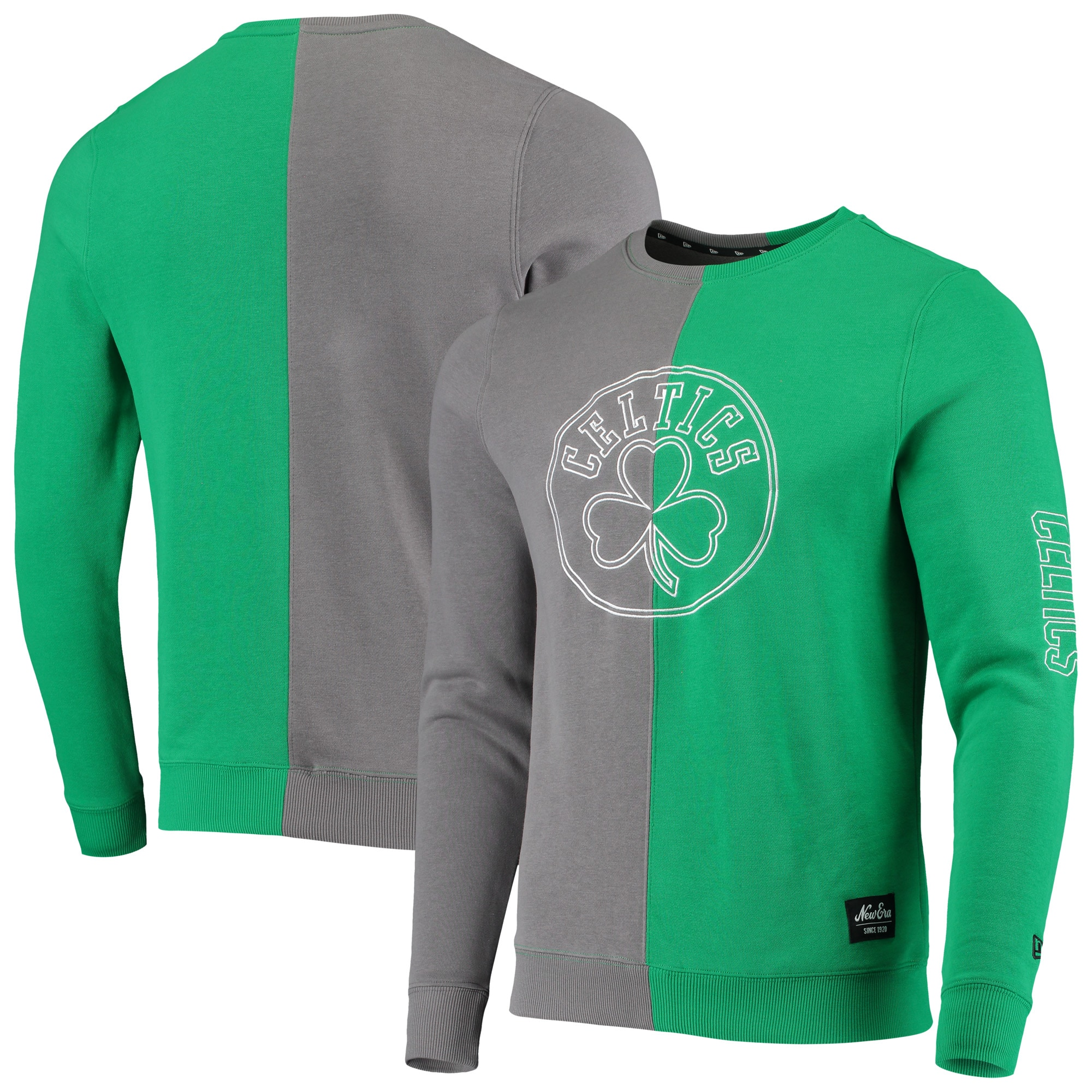 Boston Celtics New Era Diagonal French Terry Color Block Pullover Sweatshirt - Gray/Kelly Green