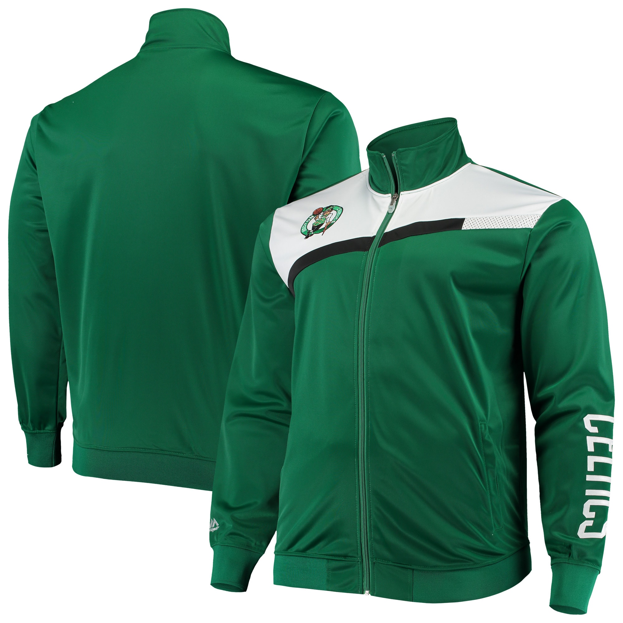 Boston Celtics Big & Tall Showtime Tricot Full-Zip Track Jacket - Kelly Green/White