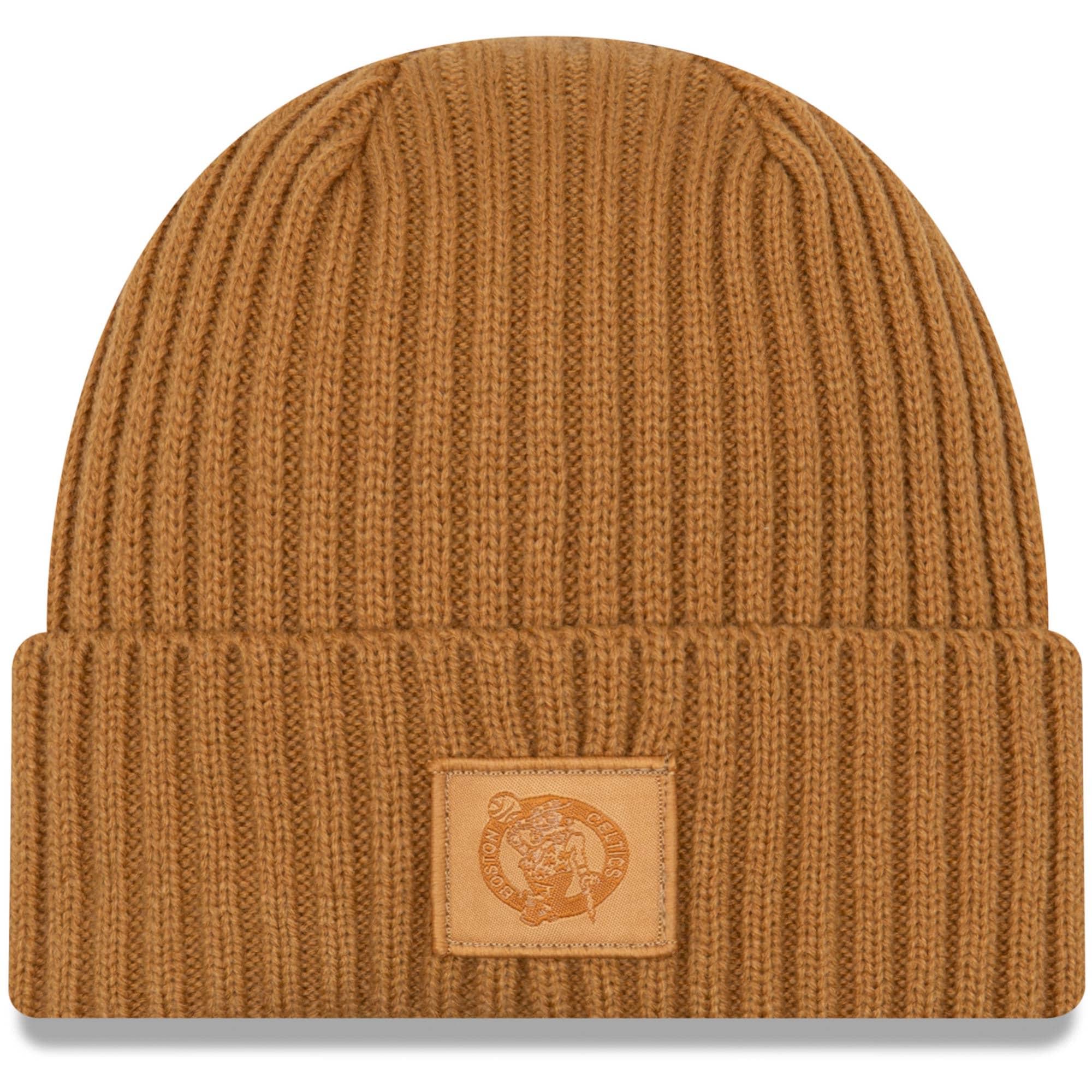 Boston Celtics New Era Label Cuffed Knit Hat - Tan