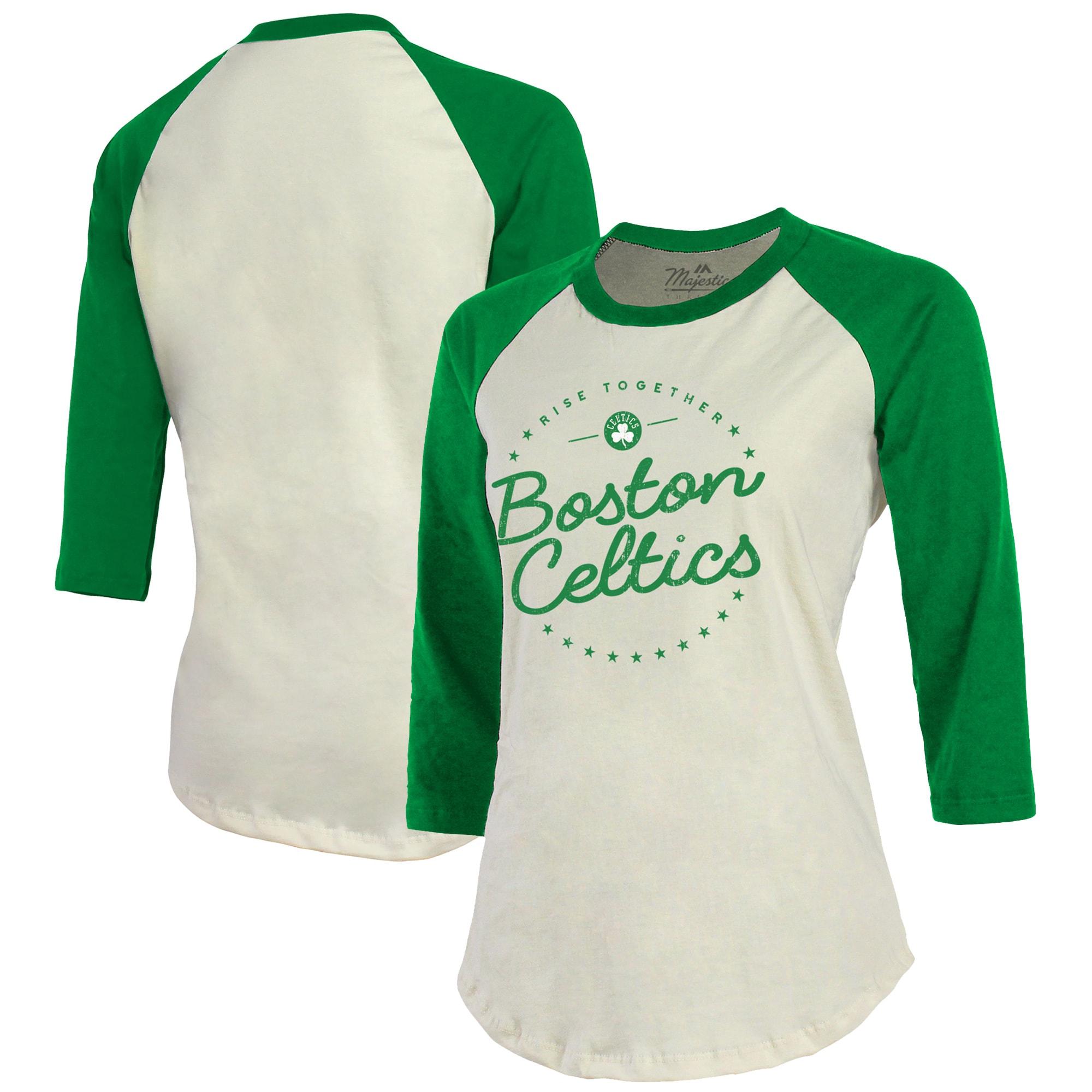Boston Celtics Majestic Threads Women's Softhand 3/4-Sleeve Raglan T-Shirt - Cream/Kelly Green