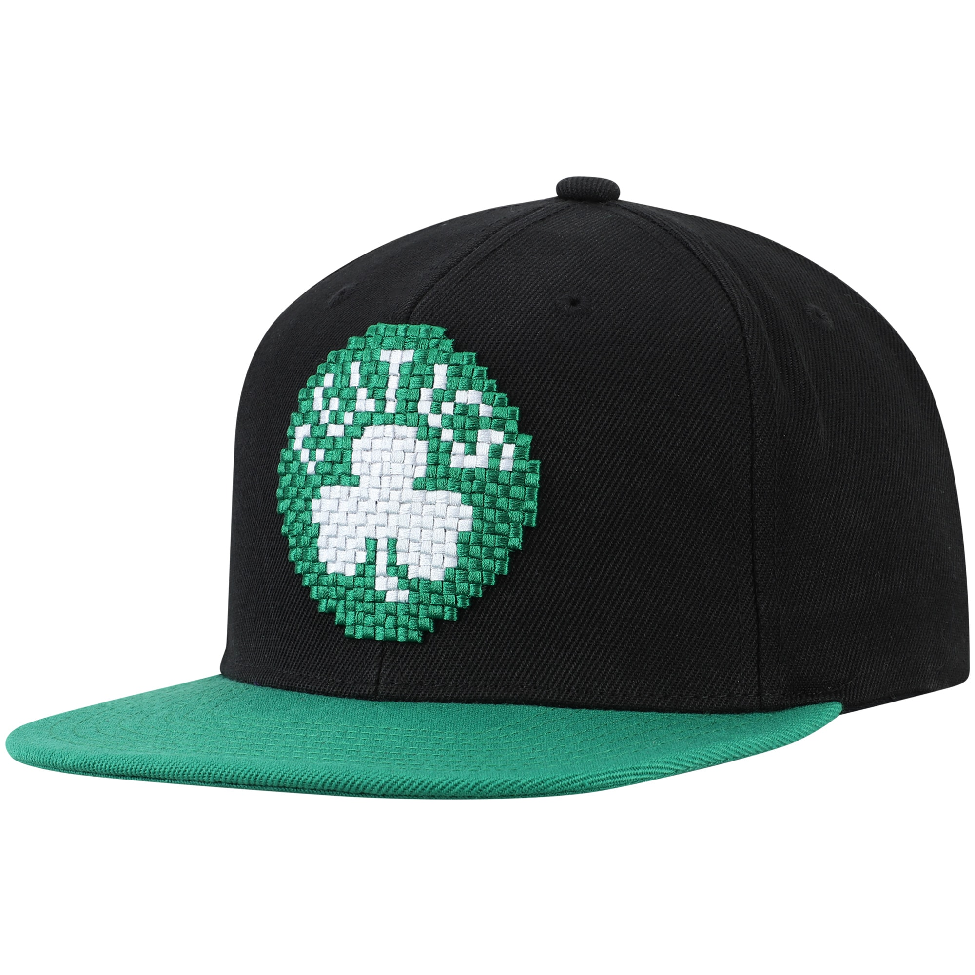 Boston Celtics Mitchell & Ness 8-Bit Two-Tone Adjustable Snapback Hat - Black