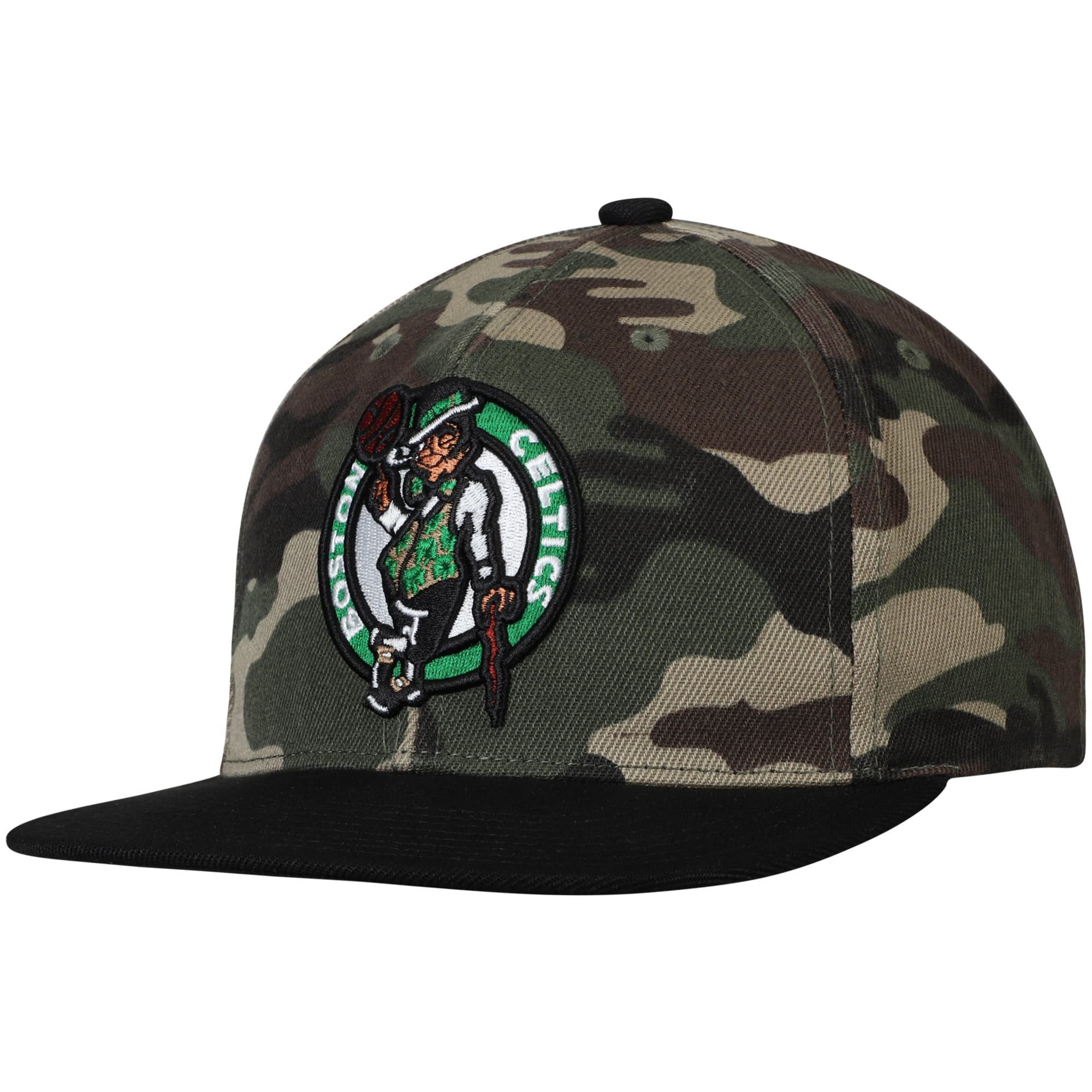 Boston Celtics Mitchell & Ness Natural Snapback Adjustable Hat - Camo