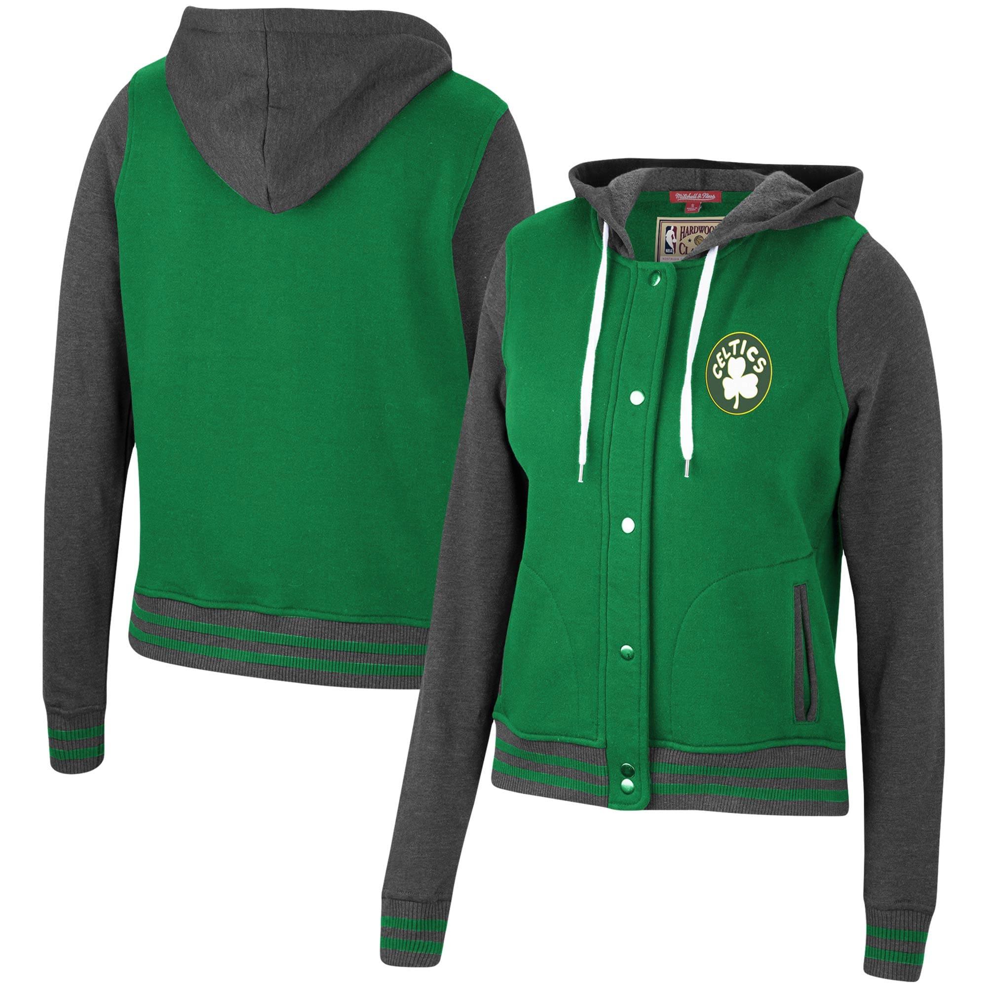 Boston Celtics Mitchell & Ness Women's Hardwood Classics Varsity Fleece Full Snap Hoodie Jacket - Kelly Green