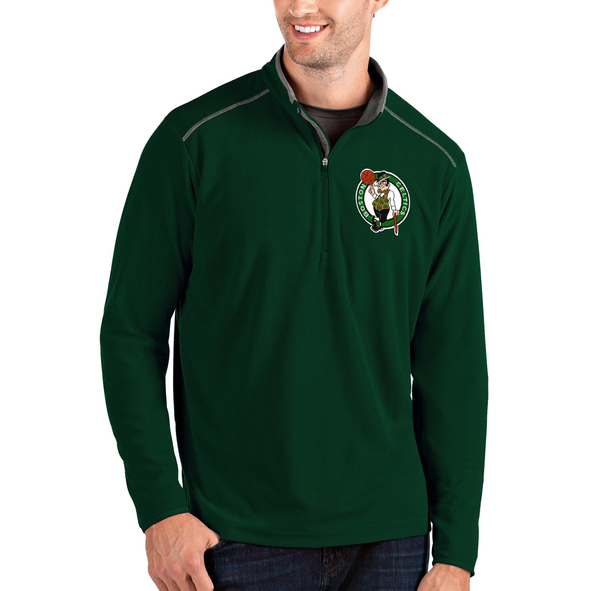 Boston Celtics Antigua Glacier Quarter-Zip Pullover Jacket - Green/Gray