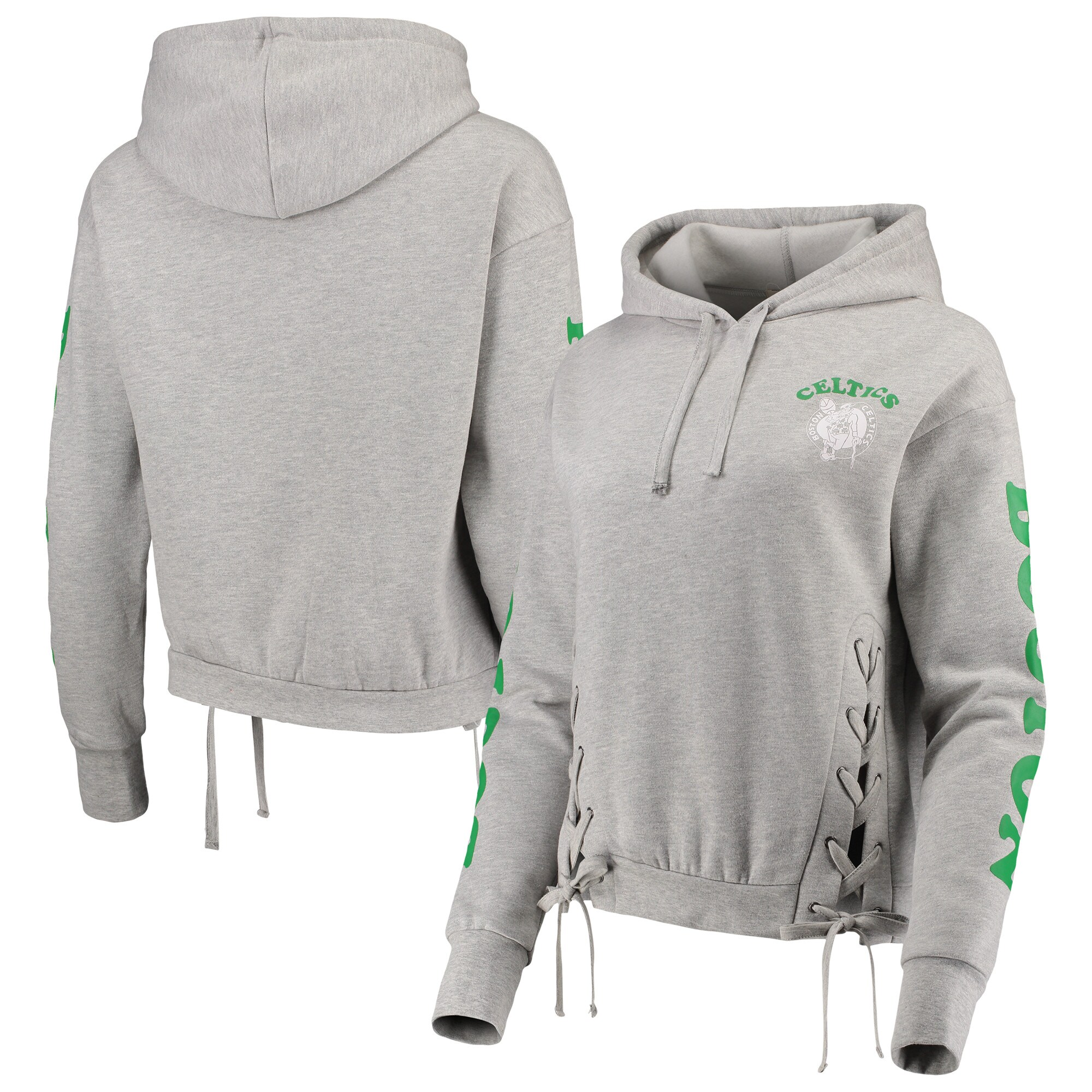 Boston Celtics Junk Food Women's Laces Pullover Hoodie - Heathered Gray
