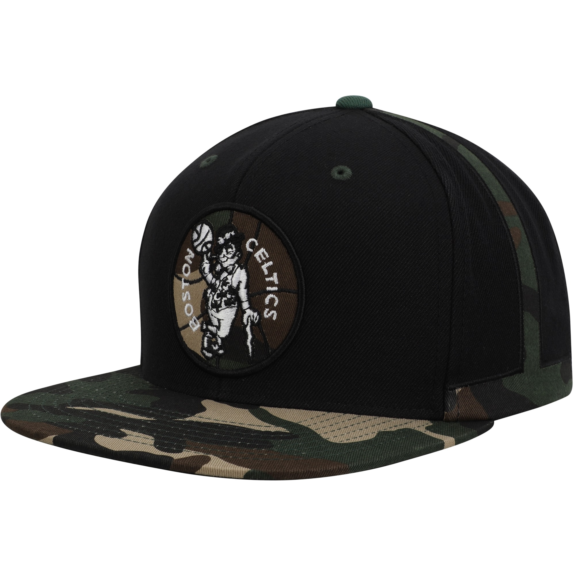 Boston Celtics Mitchell & Ness Straight Camo Snapback Hat - Black