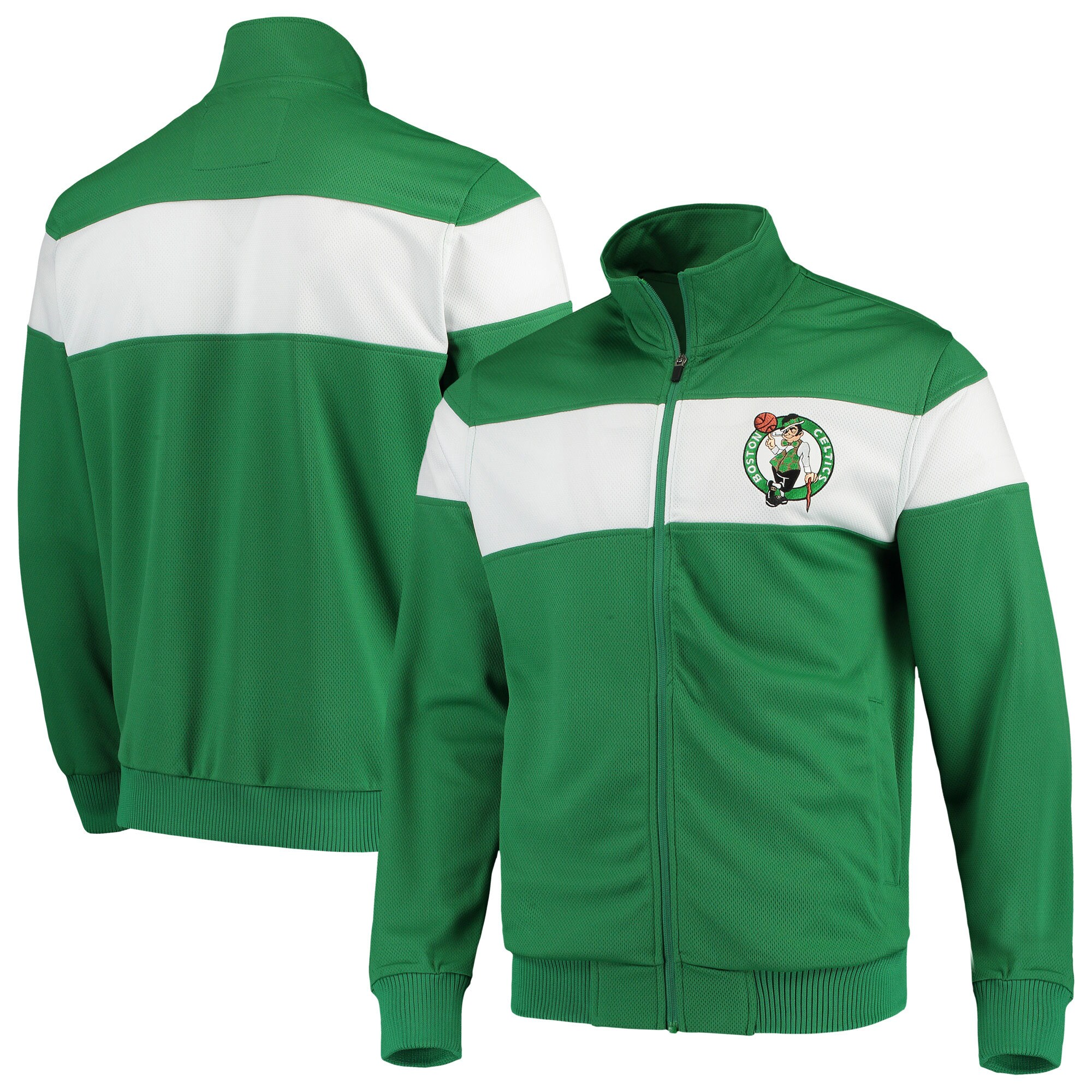 Boston Celtics G-III Sports by Carl Banks Strength Striped Full-Zip Track Jacket - Kelly Green/White