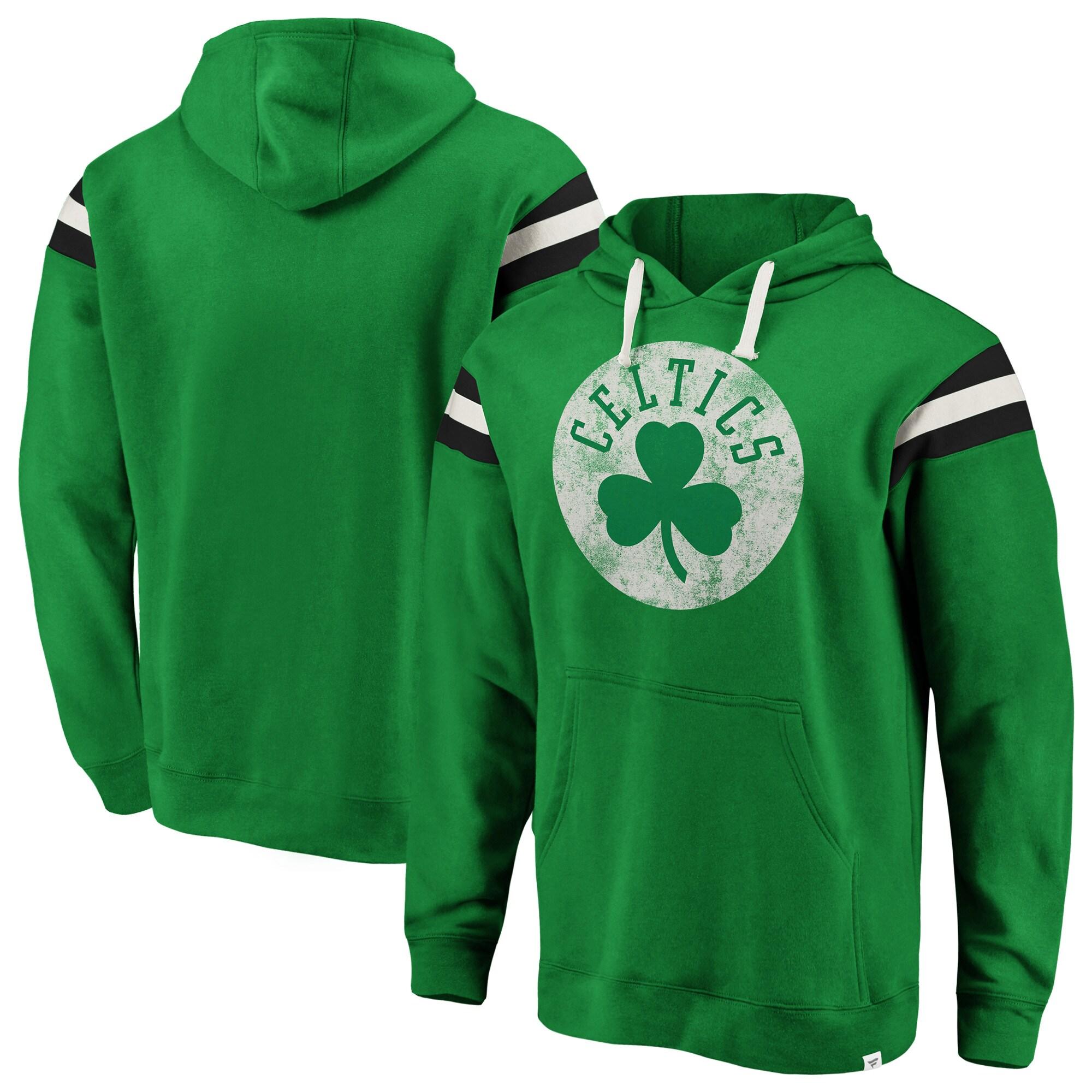 Boston Celtics Fanatics Branded Big & Tall True Classic Vintage Retro Stripe Pullover Hoodie - Kelly Green