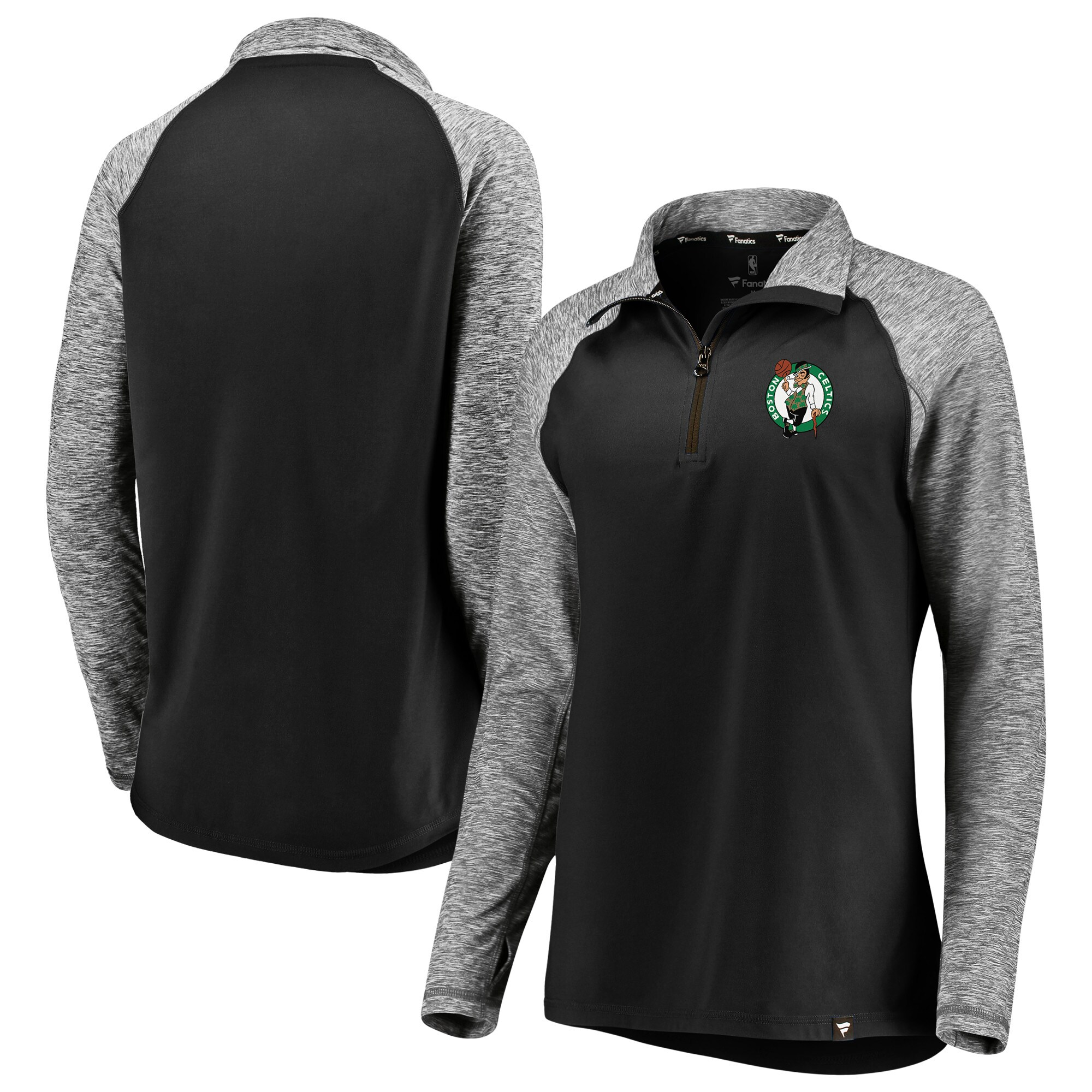 Boston Celtics Fanatics Branded Women's Made to Move Static Performance Raglan Sleeve Quarter-Zip Pullover Jacket - Black/Heathered Black