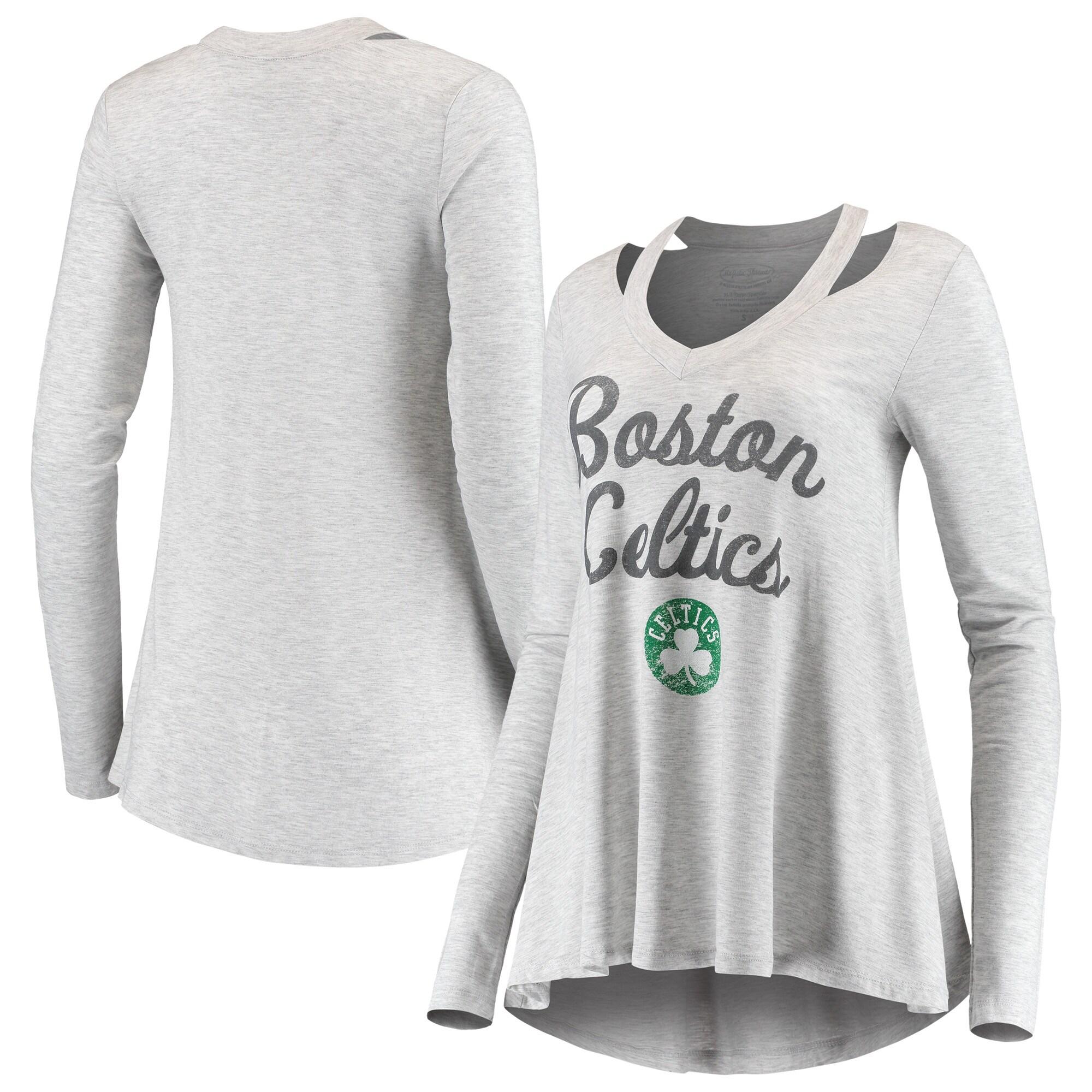 Boston Celtics Majestic Threads Women's Double Dribble Separation Long Sleeve V-Neck T-Shirt - Gray
