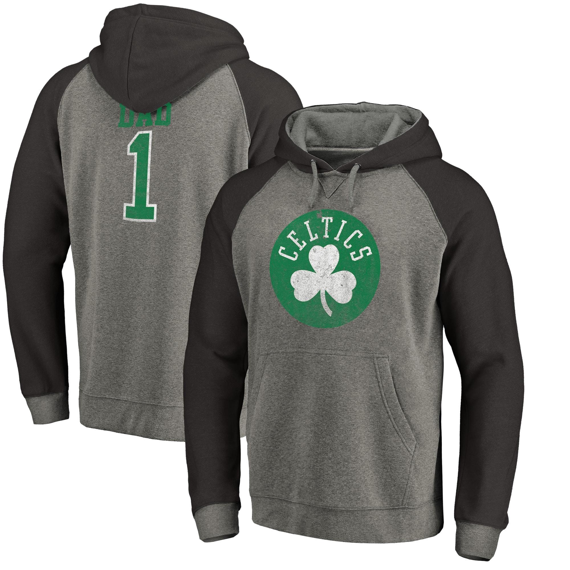 Boston Celtics Fanatics Branded Greatest Dad Long Sleeve Tri-Blend Raglan Hoodie - Heathered Gray