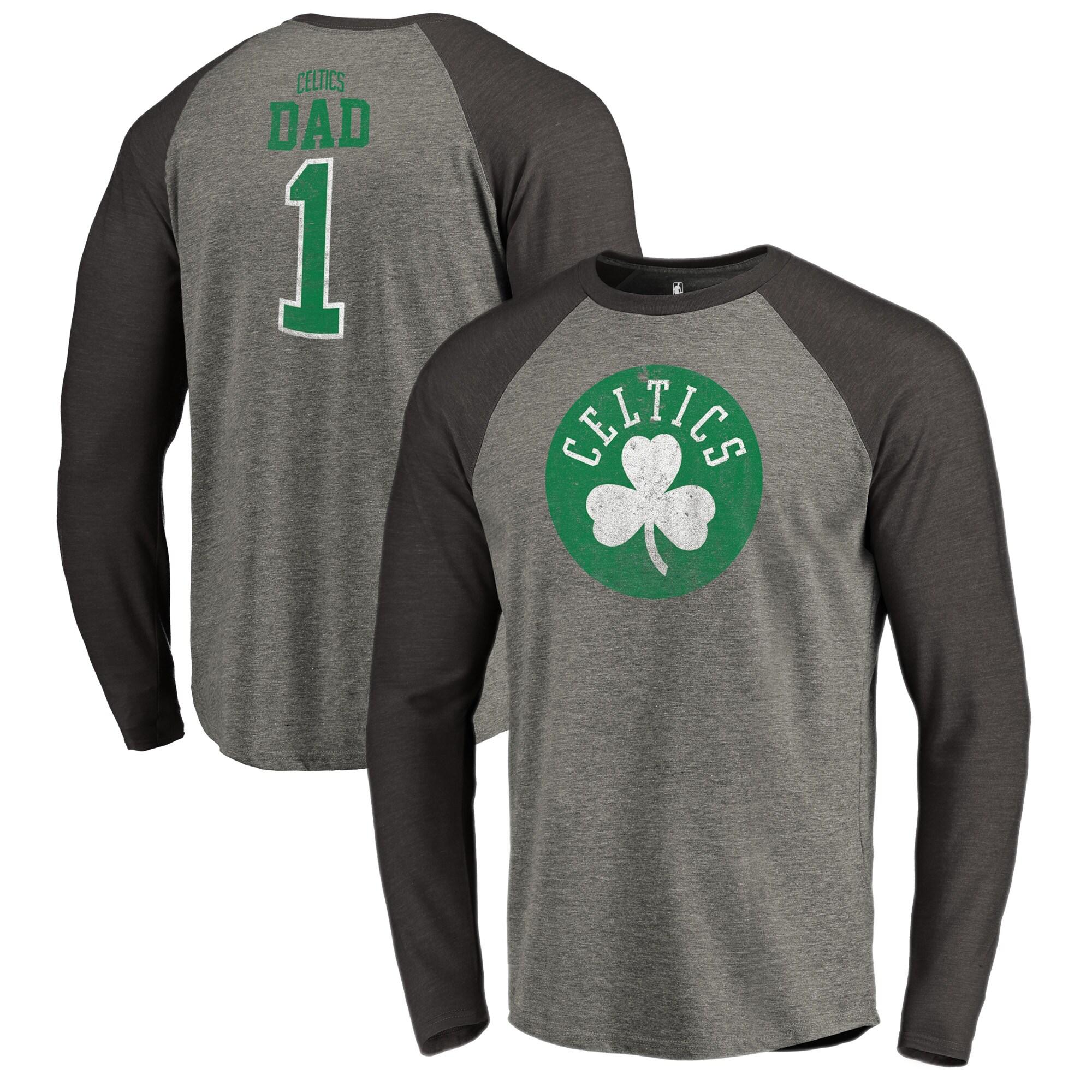 Boston Celtics Fanatics Branded Greatest Dad Long Sleeve Tri-Blend Raglan T-Shirt - Heathered Gray