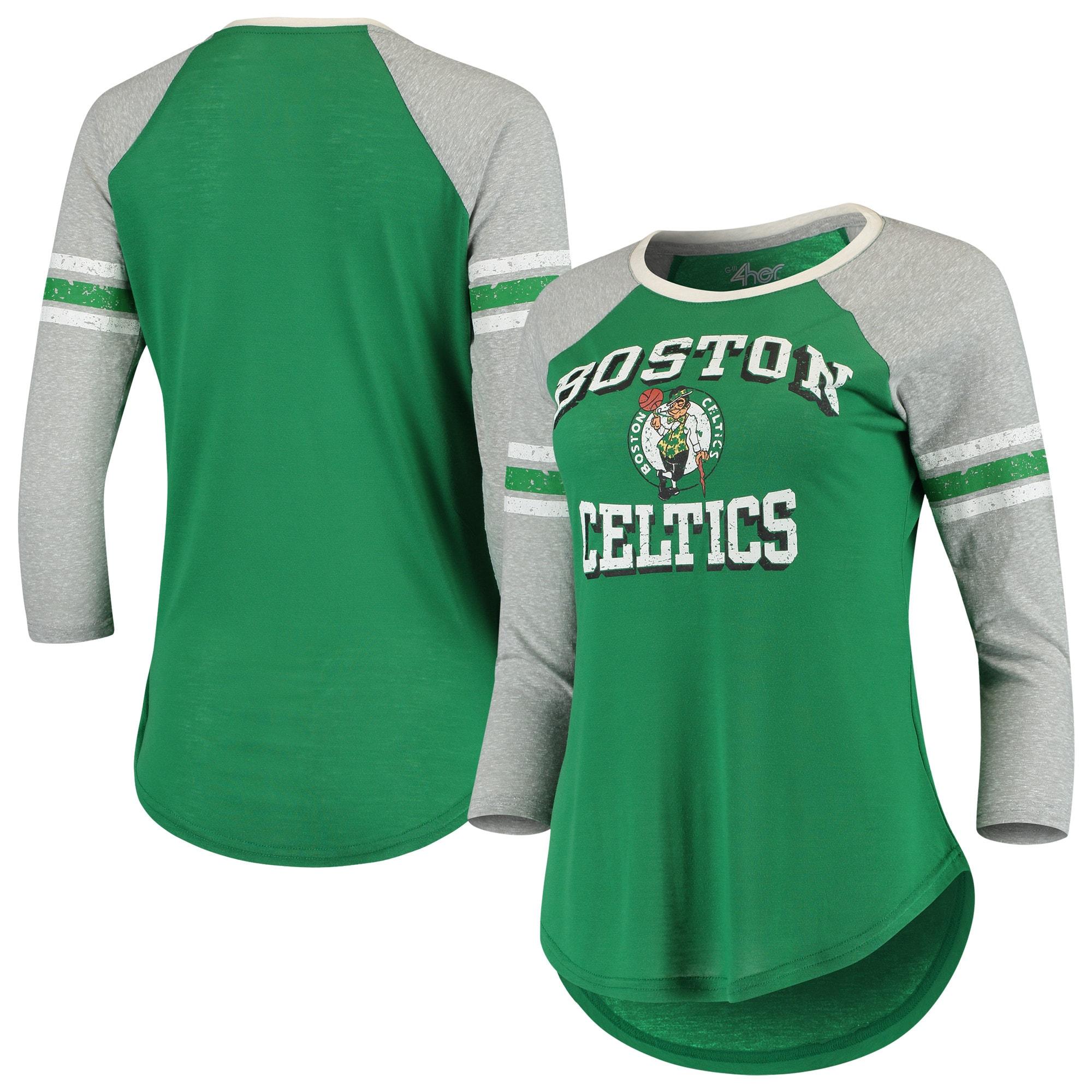 Boston Celtics G-III 4Her by Carl Banks Women's The Court Tri-Blend Raglan 3/4-Sleeve T-Shirt - Kelly Green/Heathered Gray