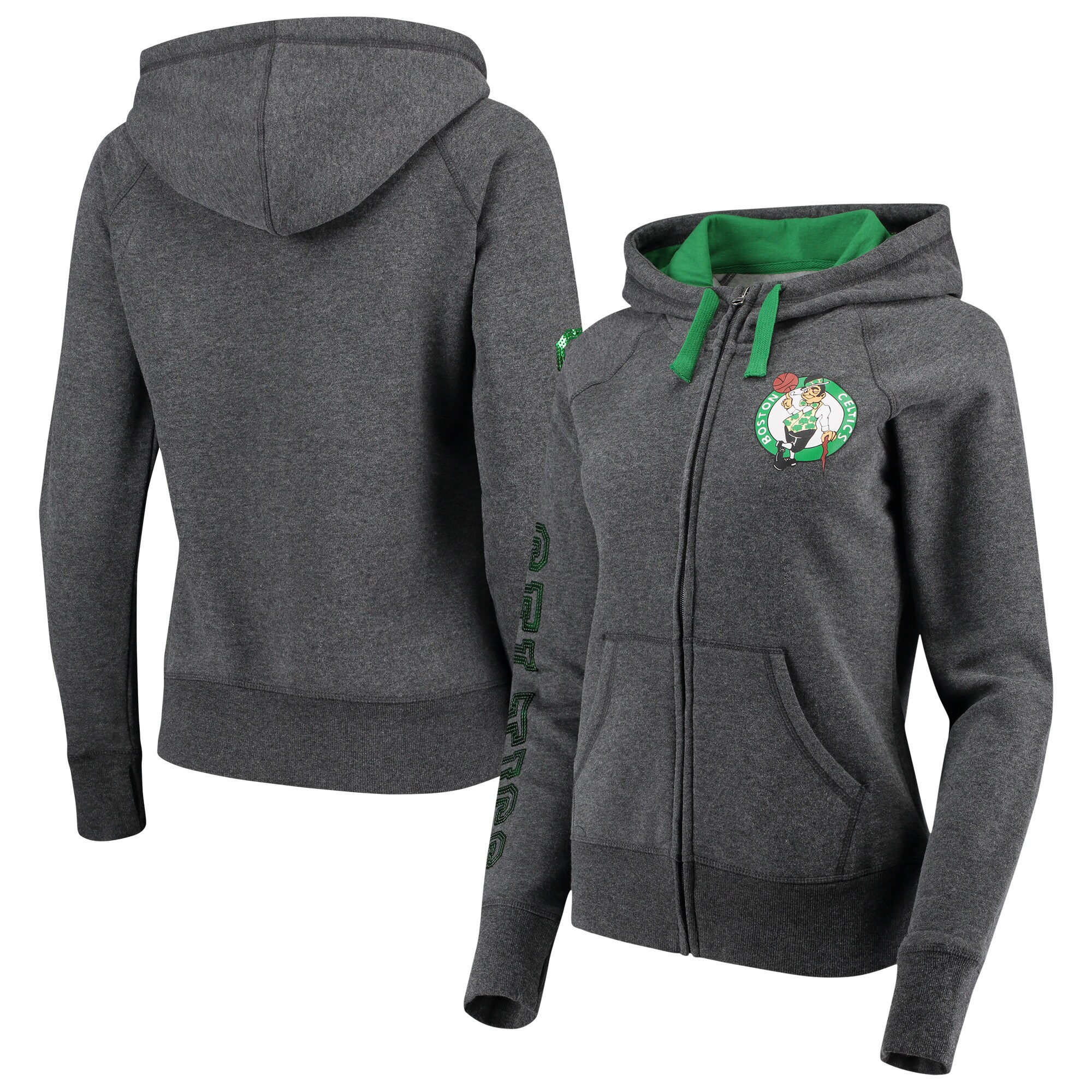 Boston Celtics G-III 4Her by Carl Banks Women's Playoff Suede Fleece Full-Zip Jacket - Charcoal/Green