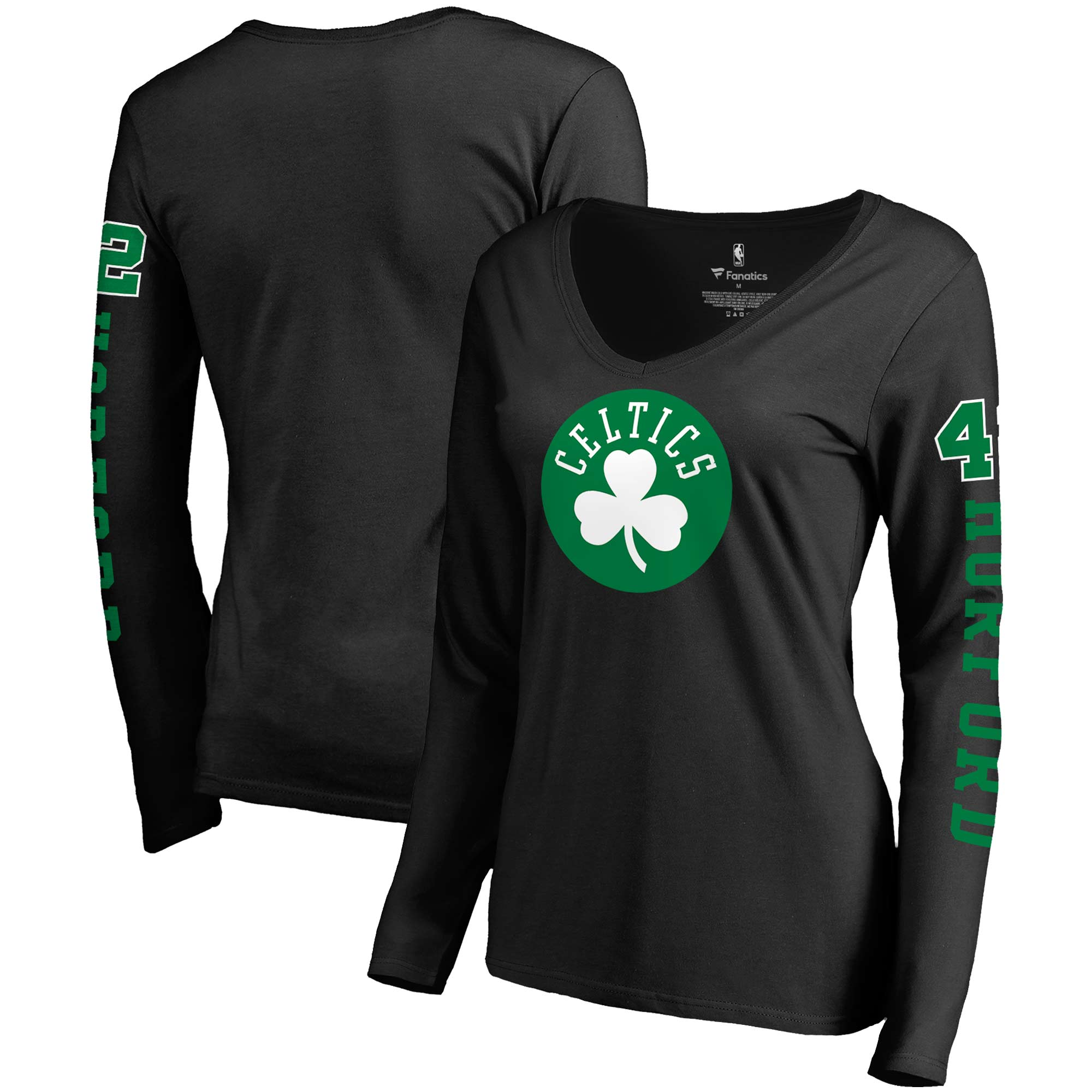Al Horford Boston Celtics Fanatics Branded Women's Team Idol Name & Number Long Sleeve V-Neck T-Shirt - Black