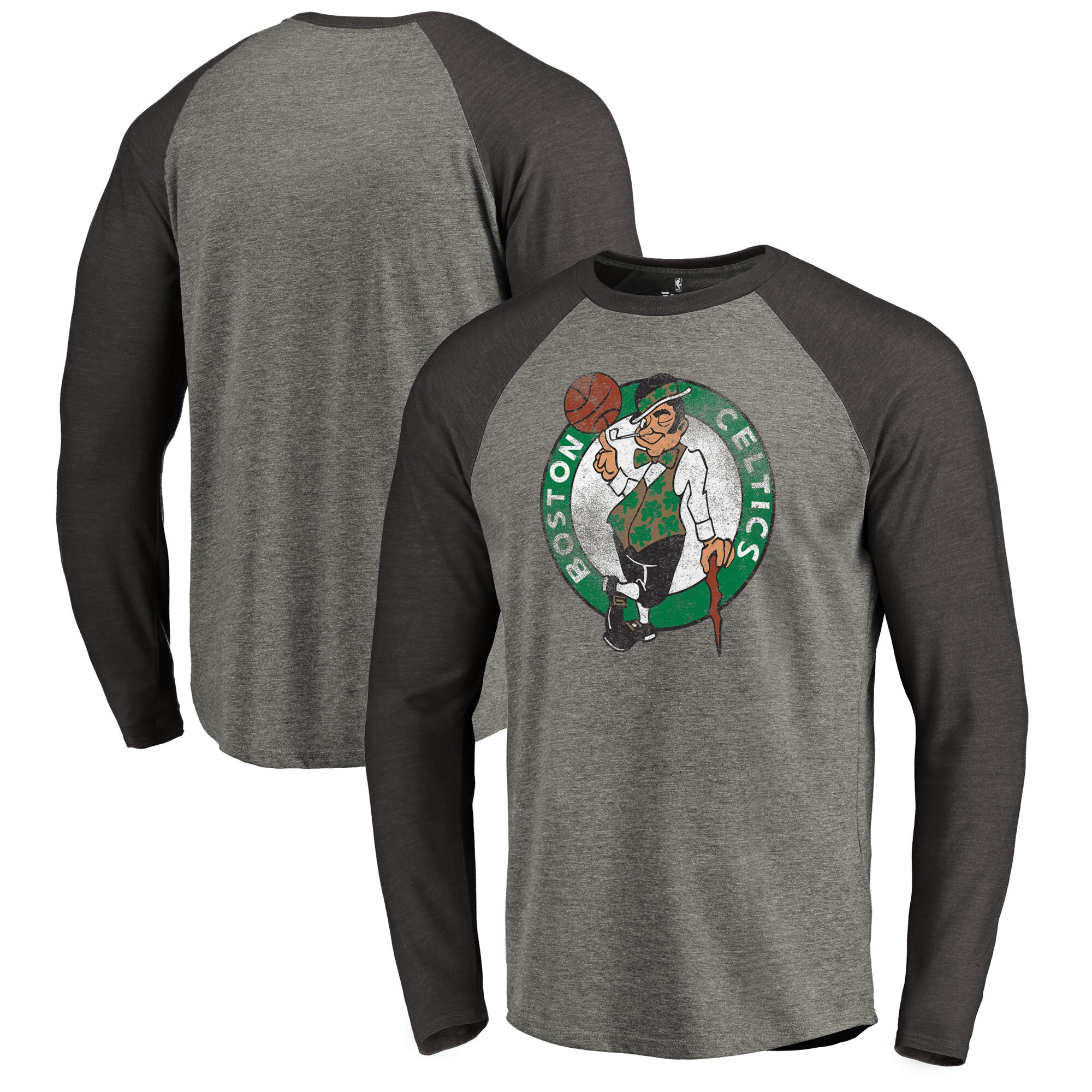 Boston Celtics Fanatics Branded Distressed Logo Tri-Blend Raglan Long Sleeve T-Shirt - Ash/Black