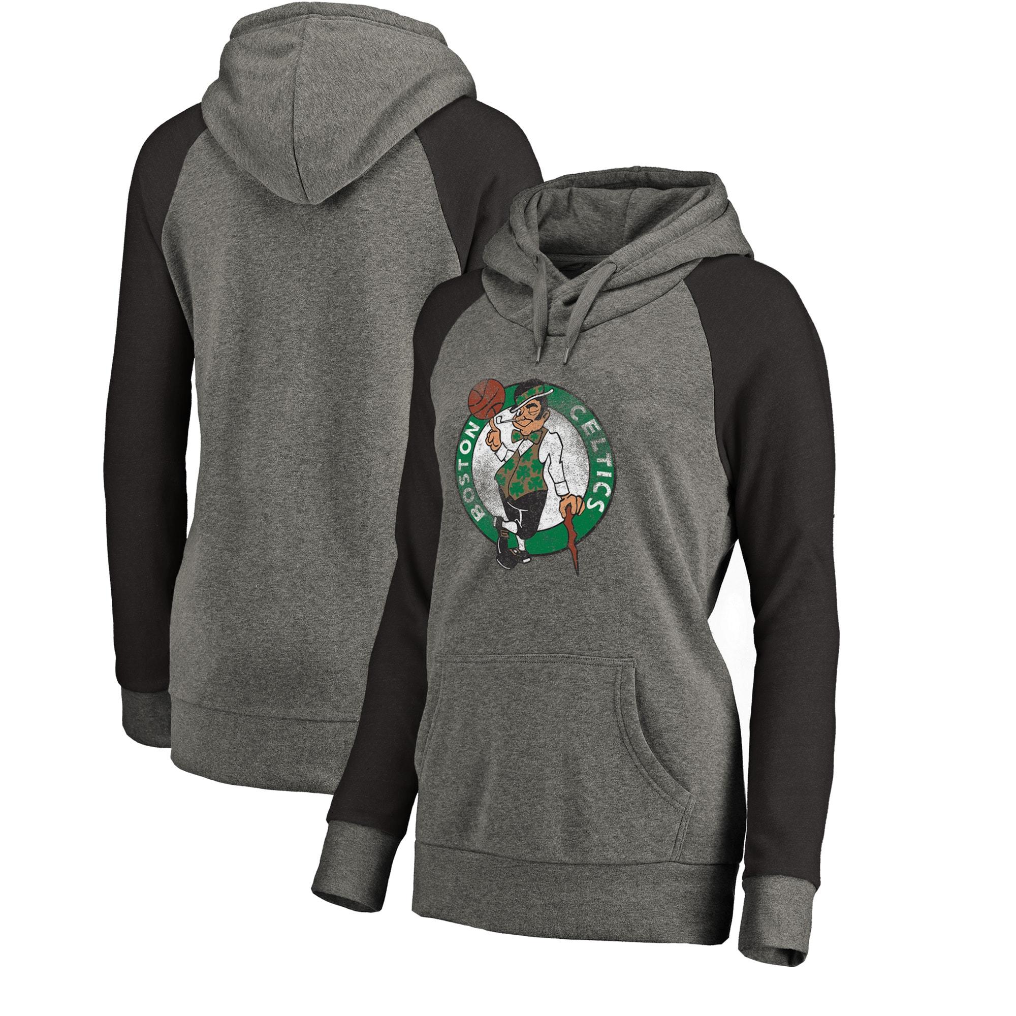 Boston Celtics Fanatics Branded Women's Distressed Logo Tri-Blend Pullover Hoodie - Ash/Black
