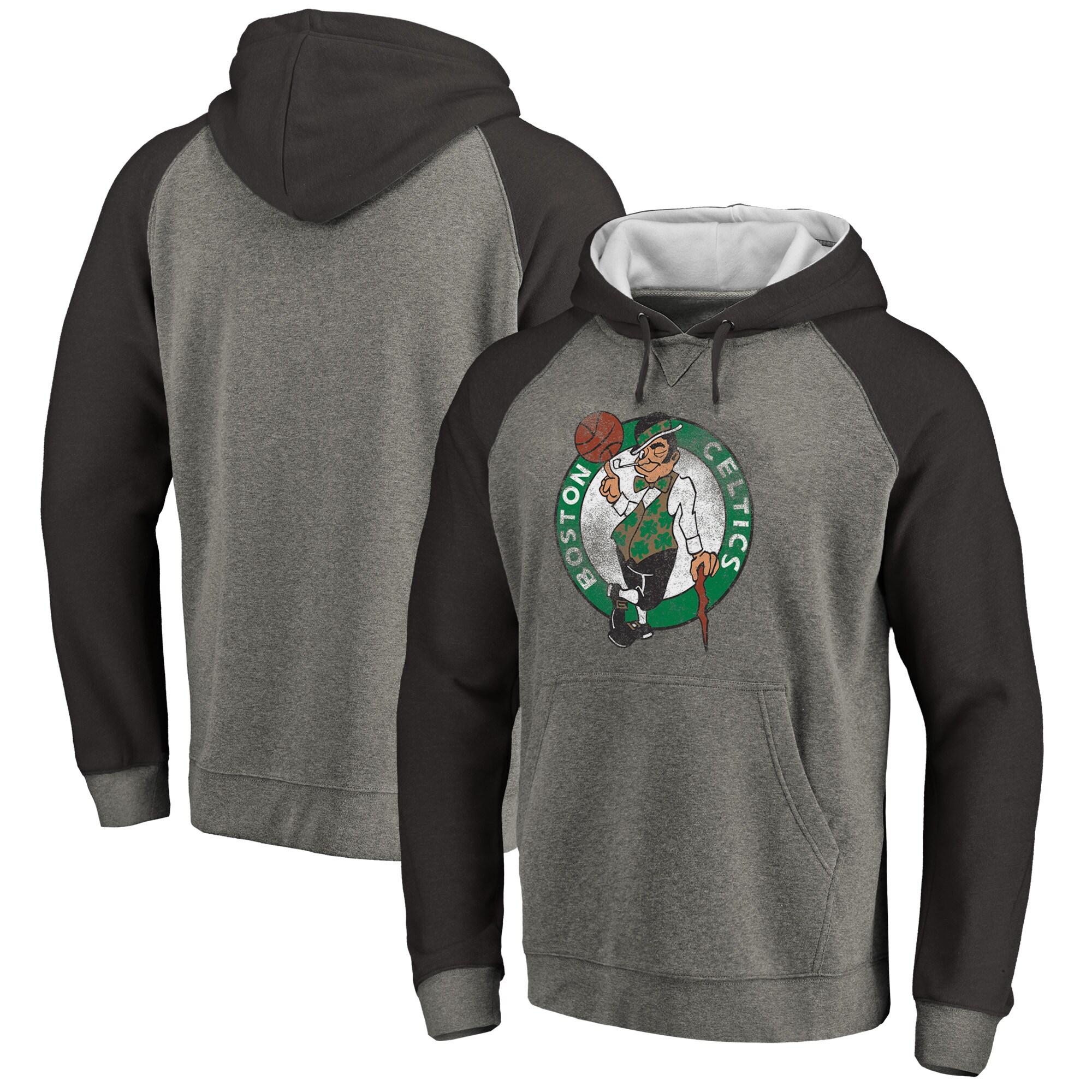 Boston Celtics Fanatics Branded Distressed Logo Tri-Blend Pullover Hoodie - Ash/Black