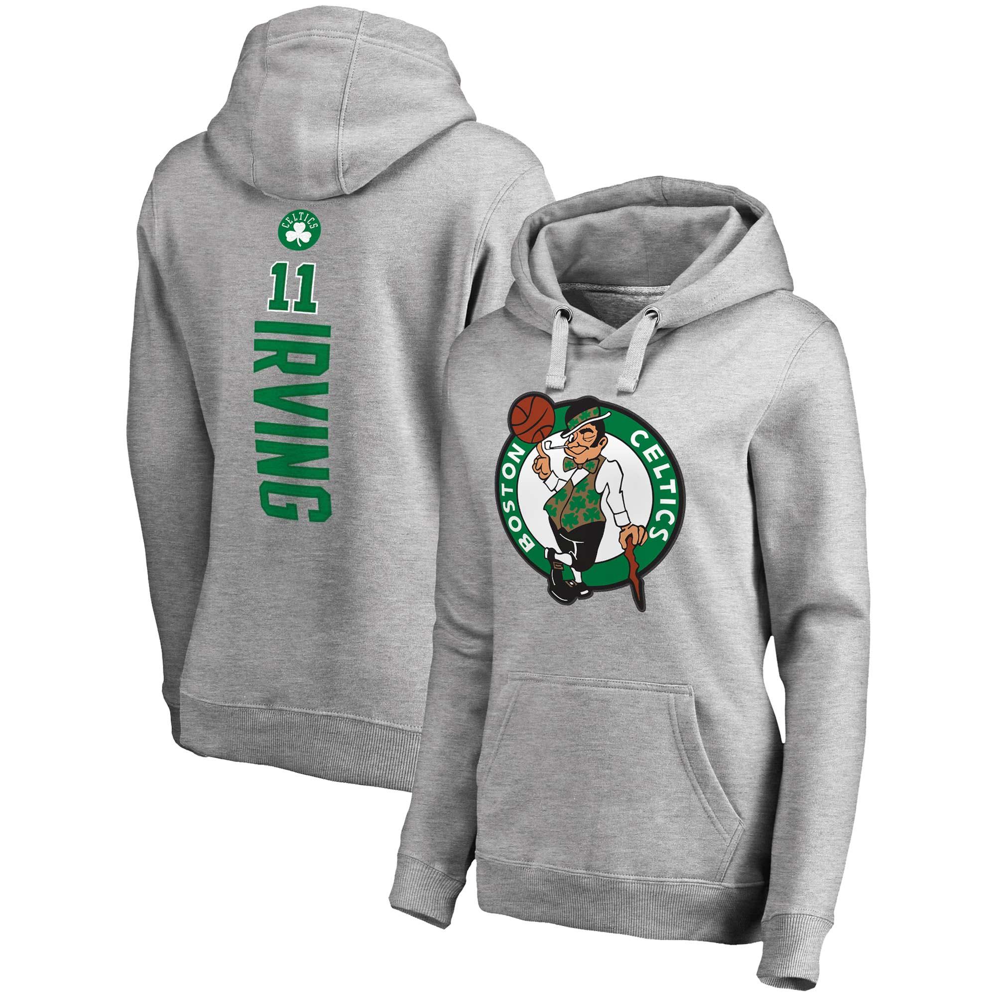 Kyrie Irving Boston Celtics Fanatics Branded Women's Backer Name & Number Pullover Hoodie - Gray