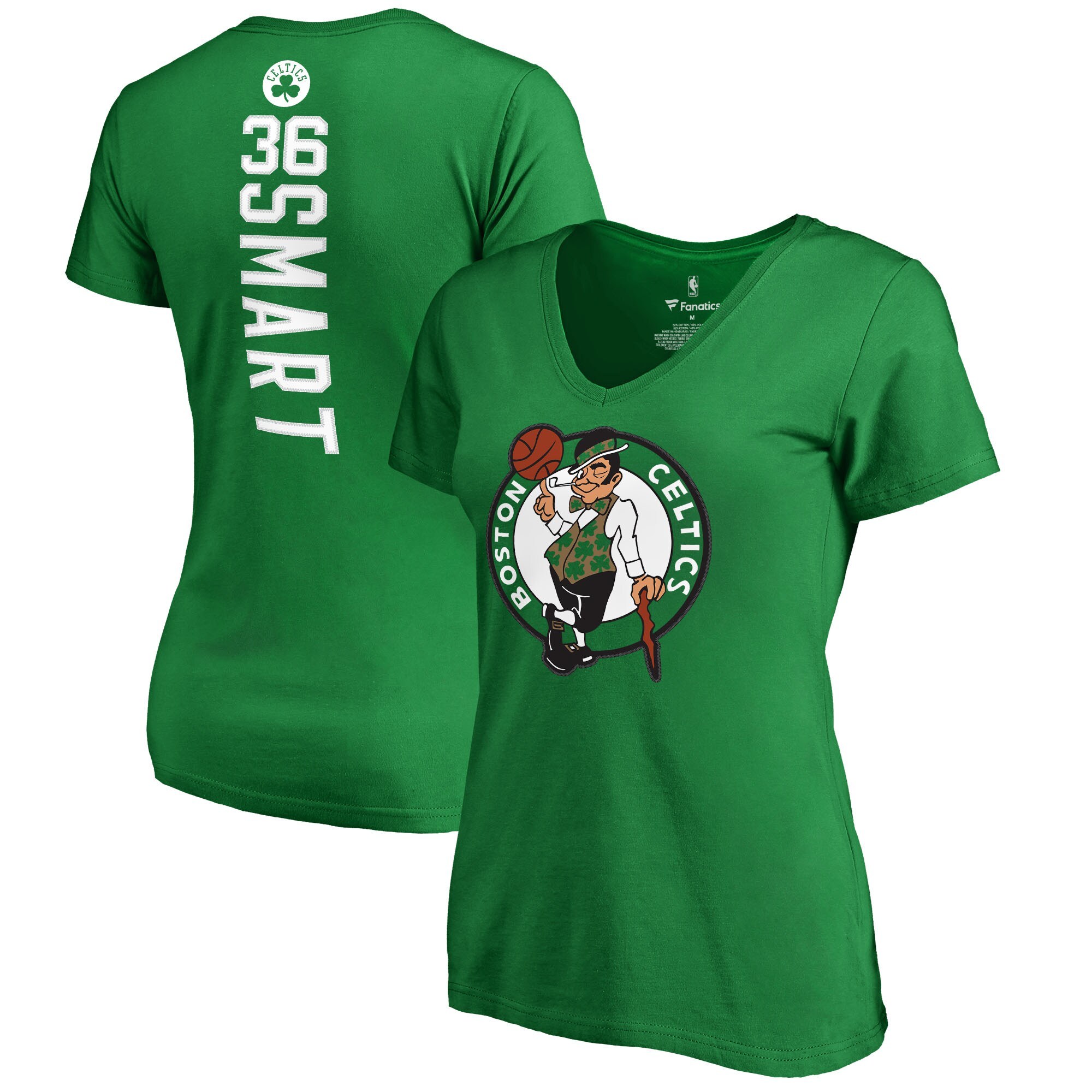 Marcus Smart Boston Celtics Fanatics Branded Women's Backer Name and Number V-Neck T-Shirt - Kelly Green