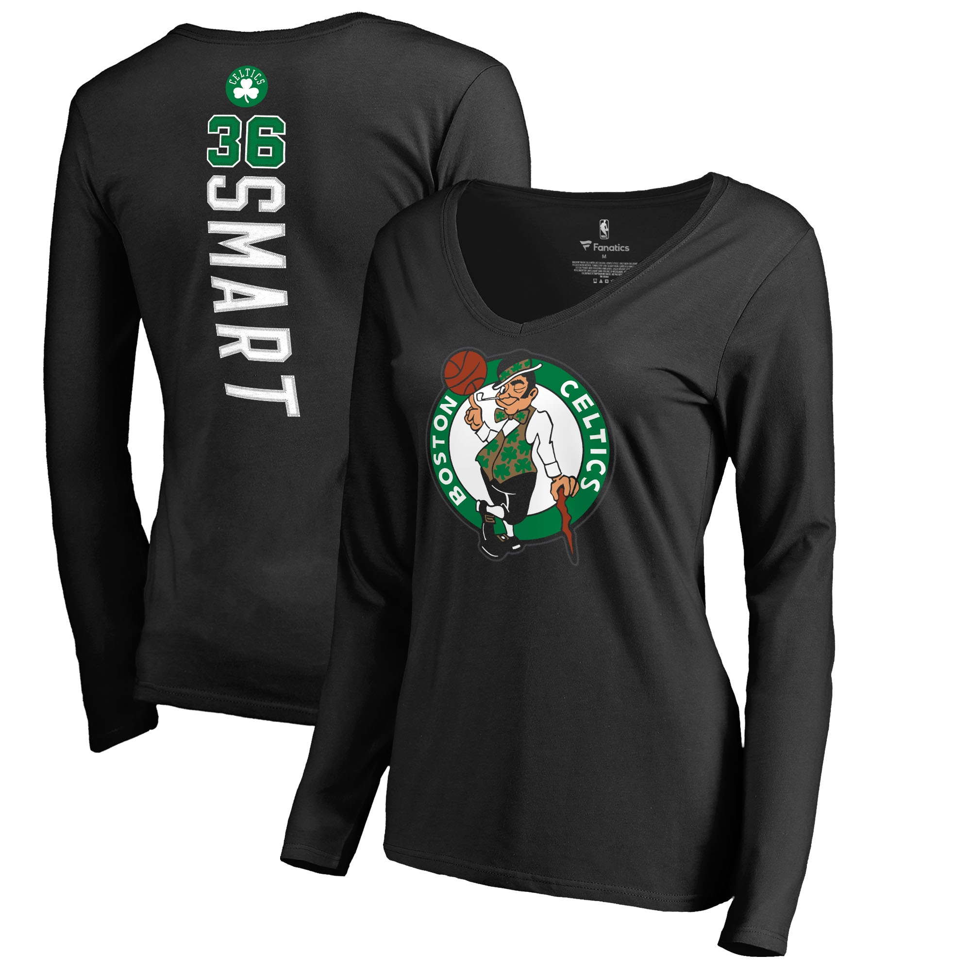 Marcus Smart Boston Celtics Fanatics Branded Women's Long Sleeve V-Neck Backer Name and Number T-Shirt - Black