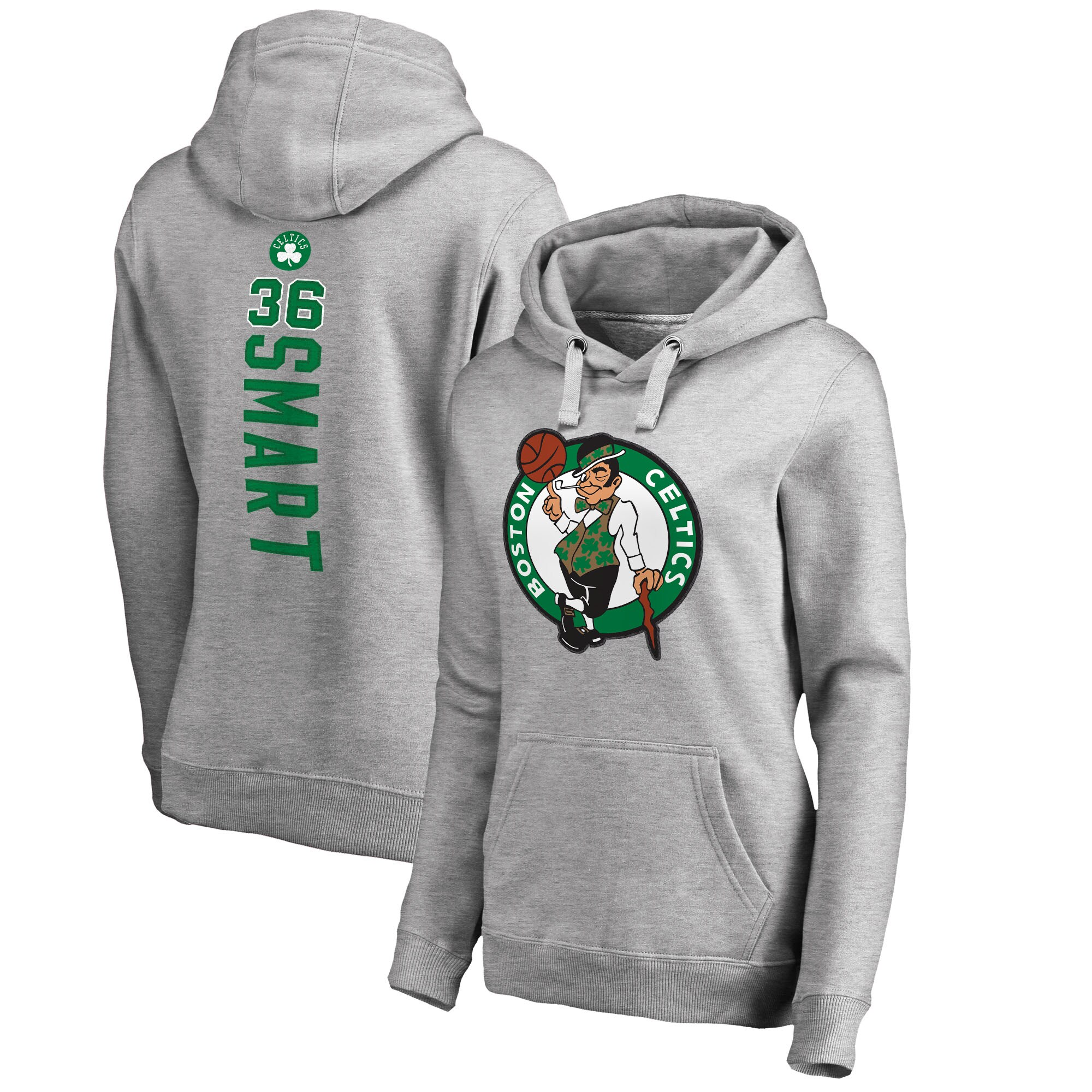 Marcus Smart Boston Celtics Fanatics Branded Women's Backer Name and Number Pullover Hoodie - Heathered Gray