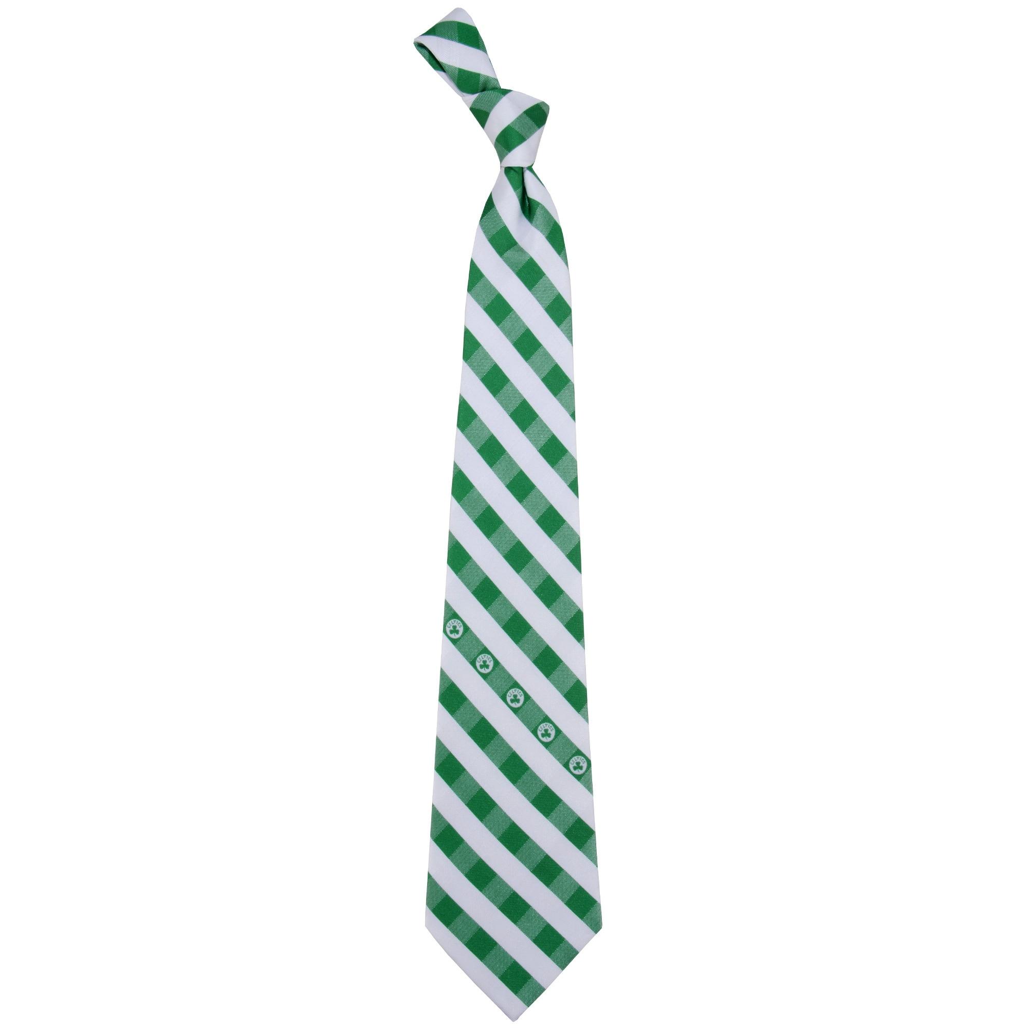 Boston Celtics Woven Checkered Tie - Kelly Green/White