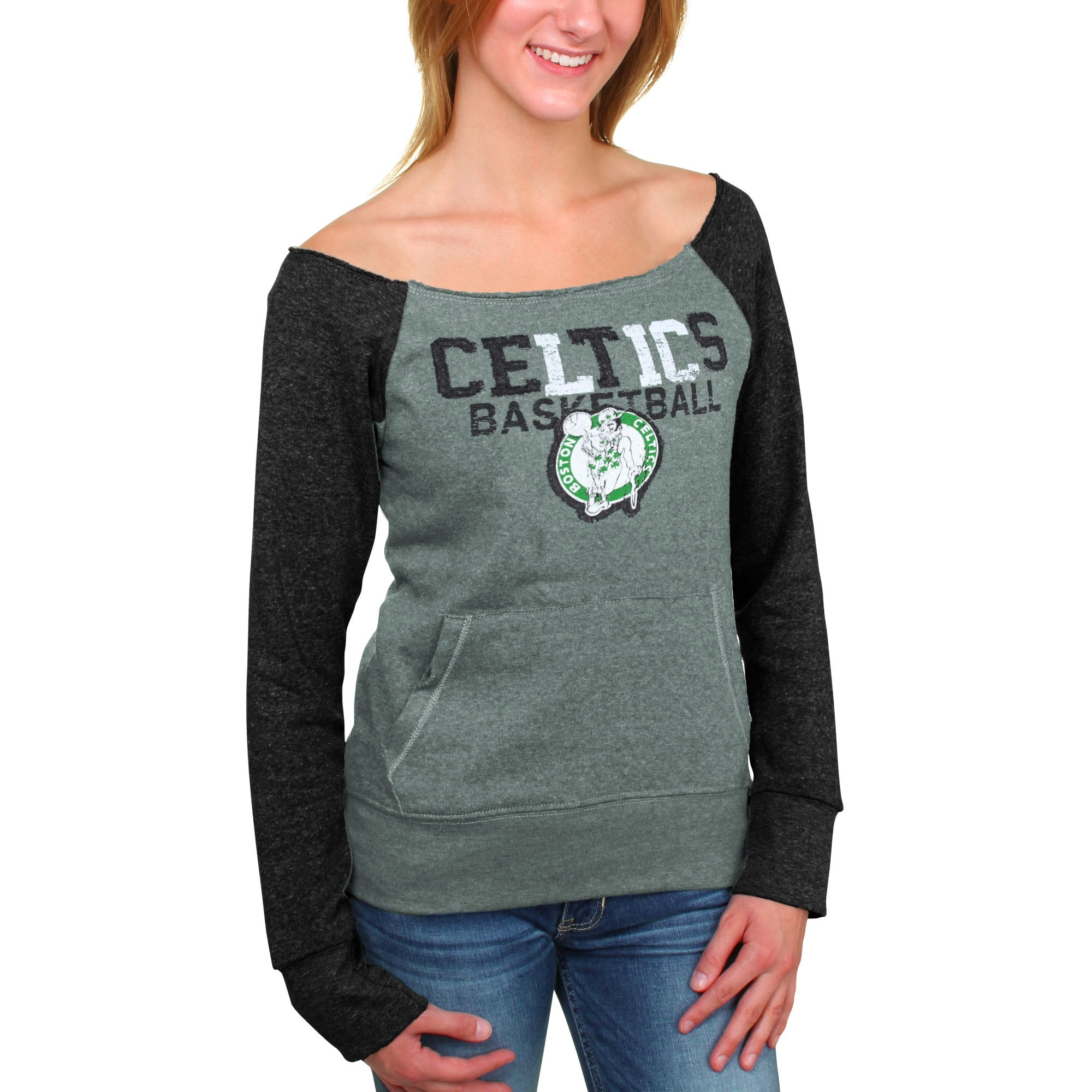Boston Celtics 5th and Ocean Women's Hardwood Classics Fleece Long Sleeve T-Shirt - Kelly Green