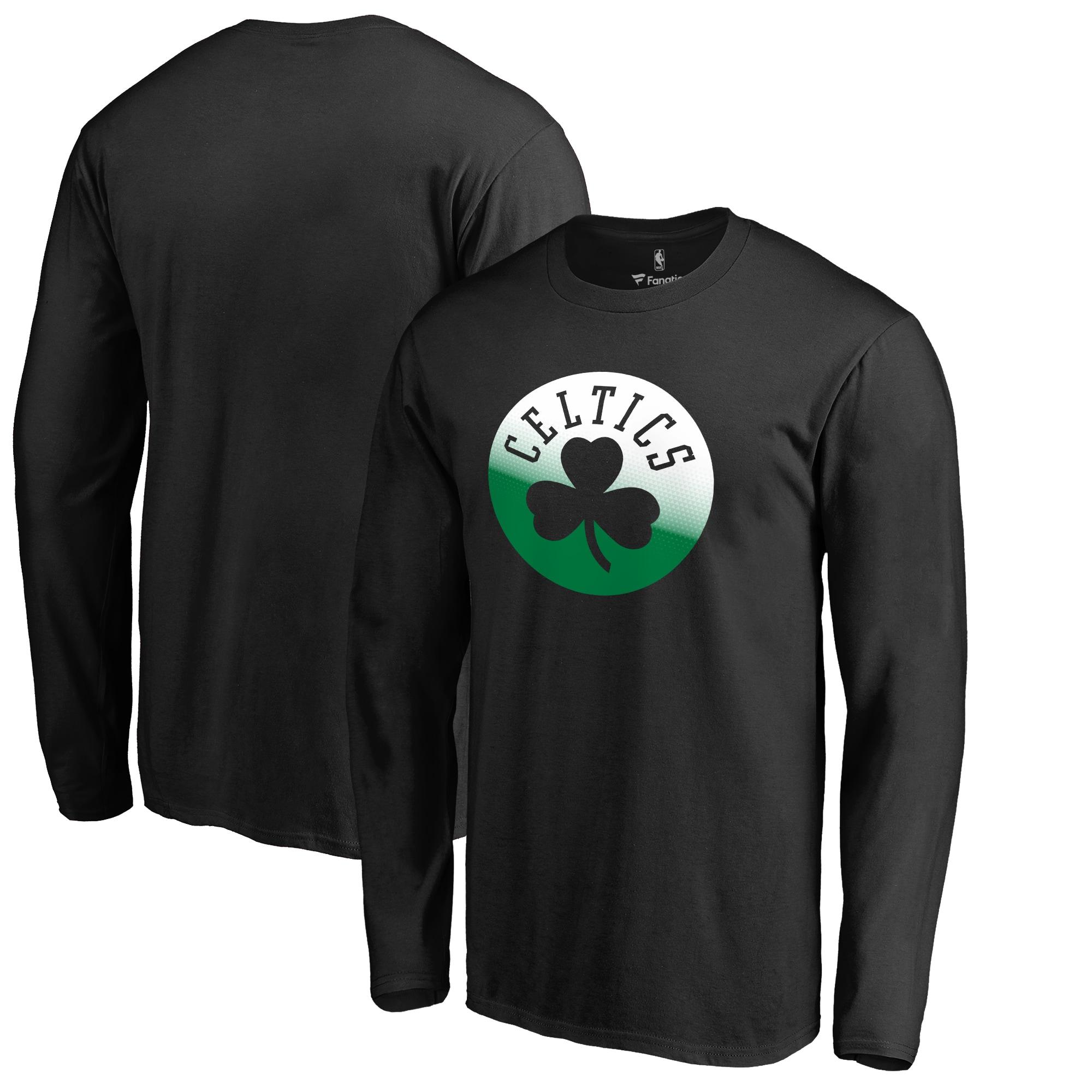 Boston Celtics Fanatics Branded Big & Tall Gradient Logo Long Sleeve T-Shirt - Black