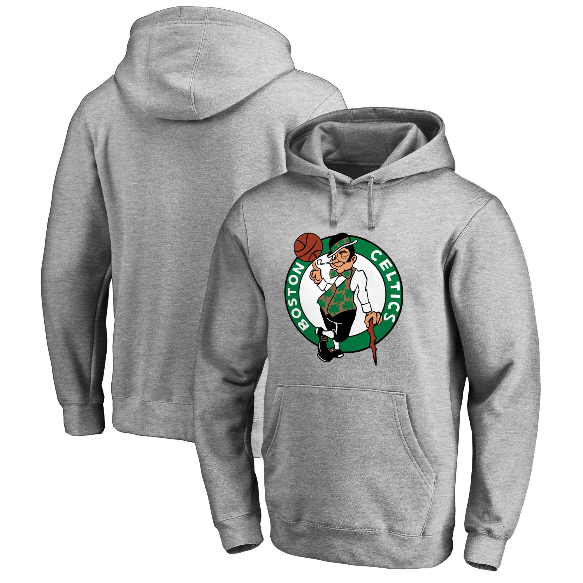 Boston Celtics Fanatics Branded Primary Logo Pullover Hoodie - Heathered Gray