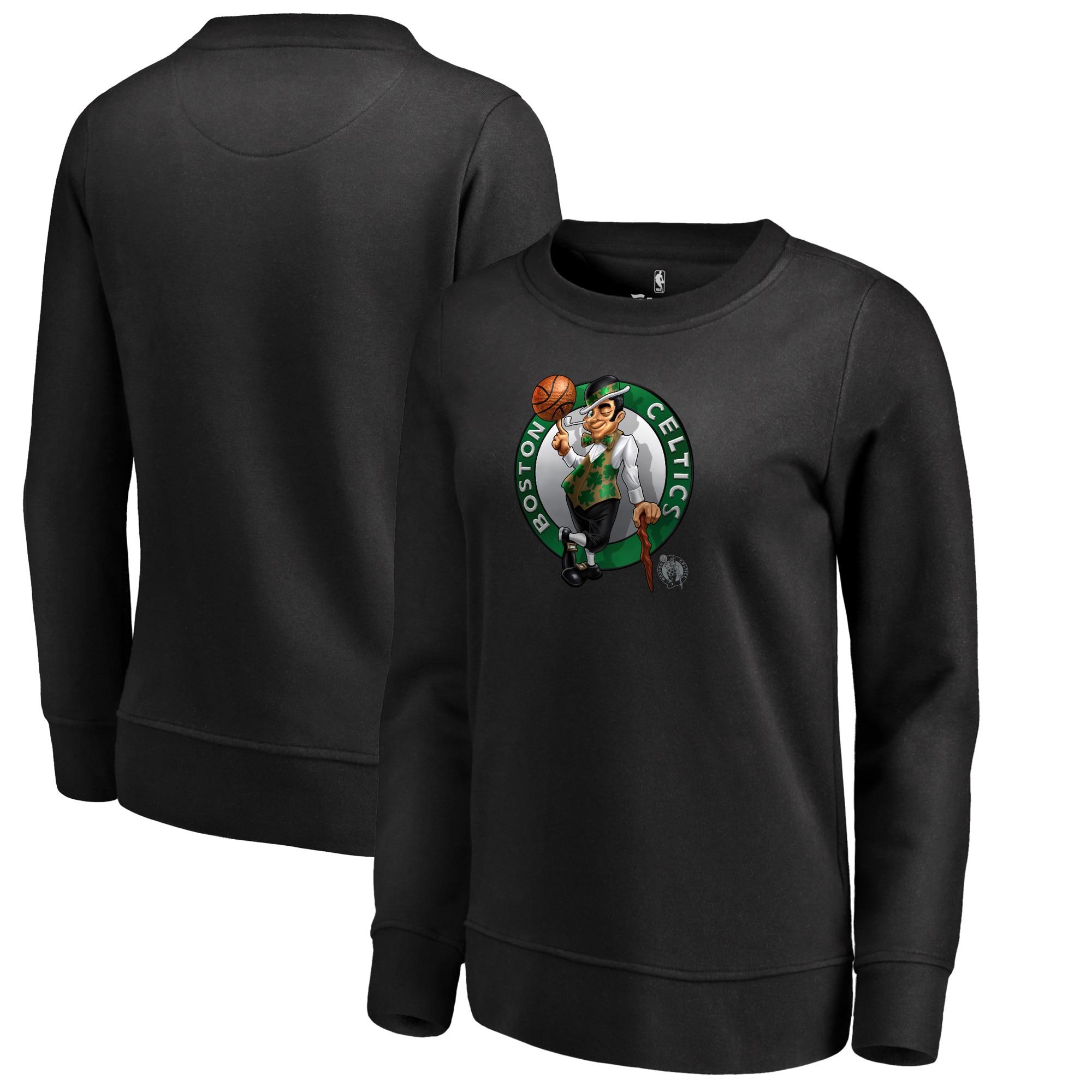 Boston Celtics Fanatics Branded Women's Midnight Mascot Pullover Sweatshirt - Black