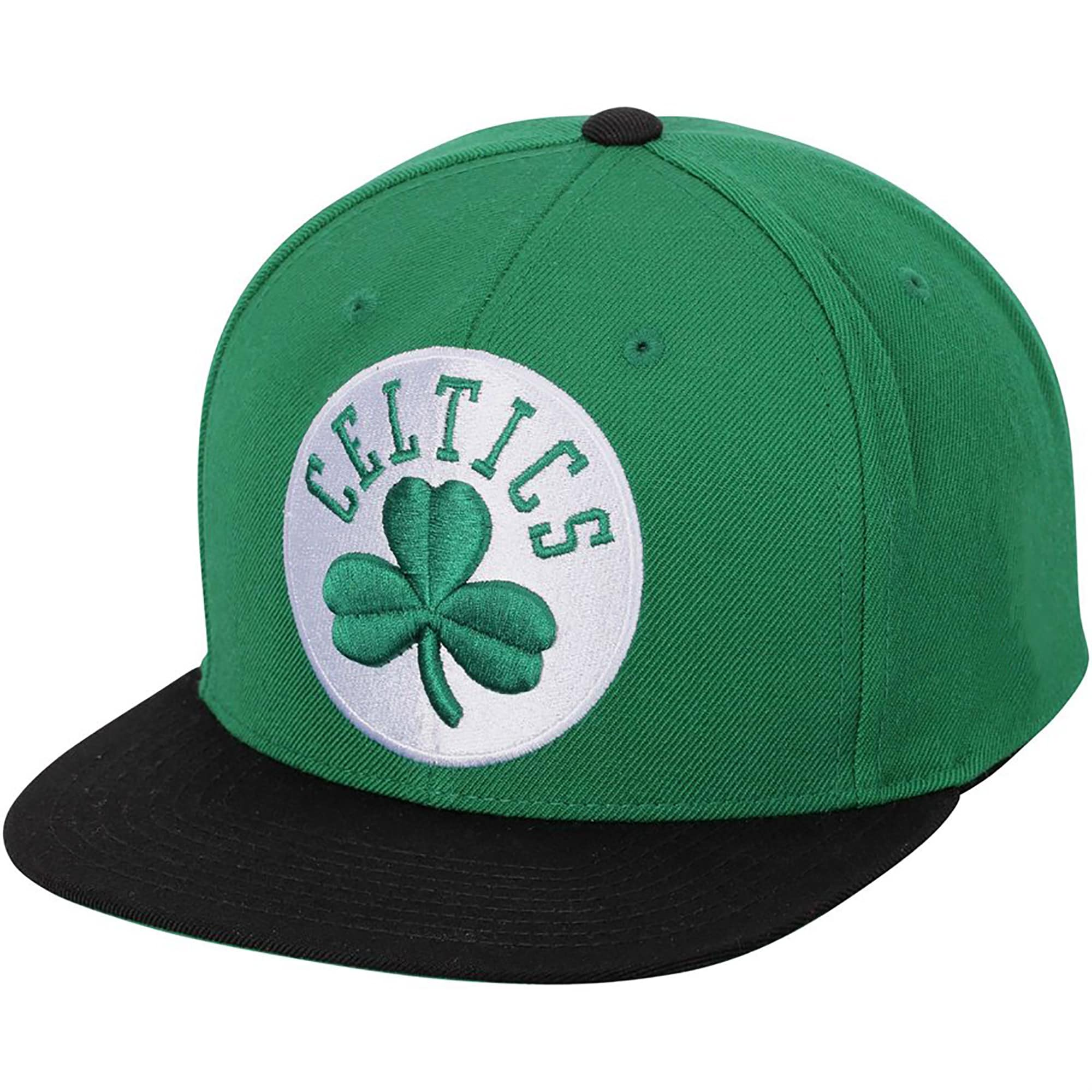 Boston Celtics Mitchell & Ness XL Logo Two-Tone Snapback Adjustable Hat - Kelly Green/Black
