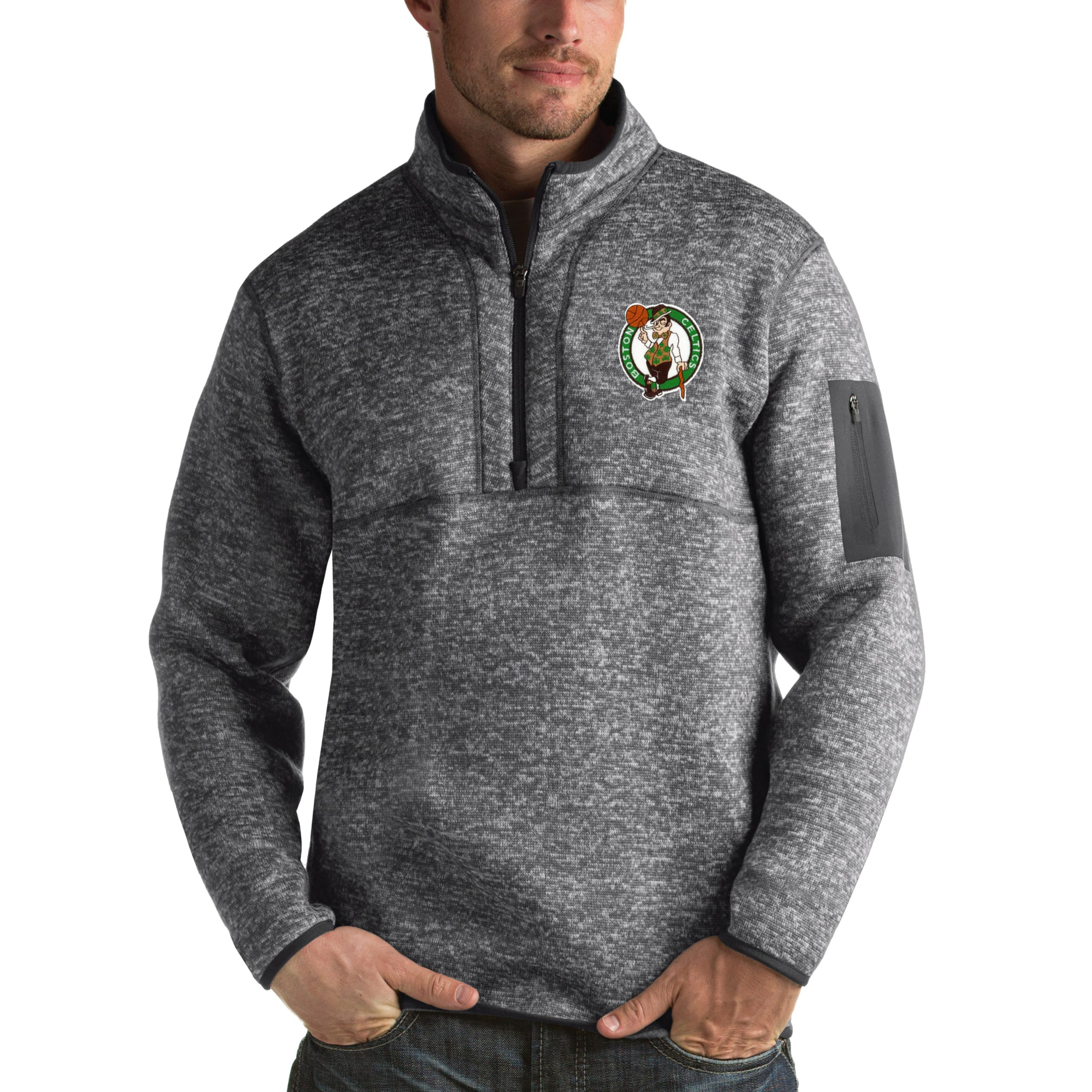 Boston Celtics Antigua Fortune 1/2-Zip Pullover Jacket - Heathered Black