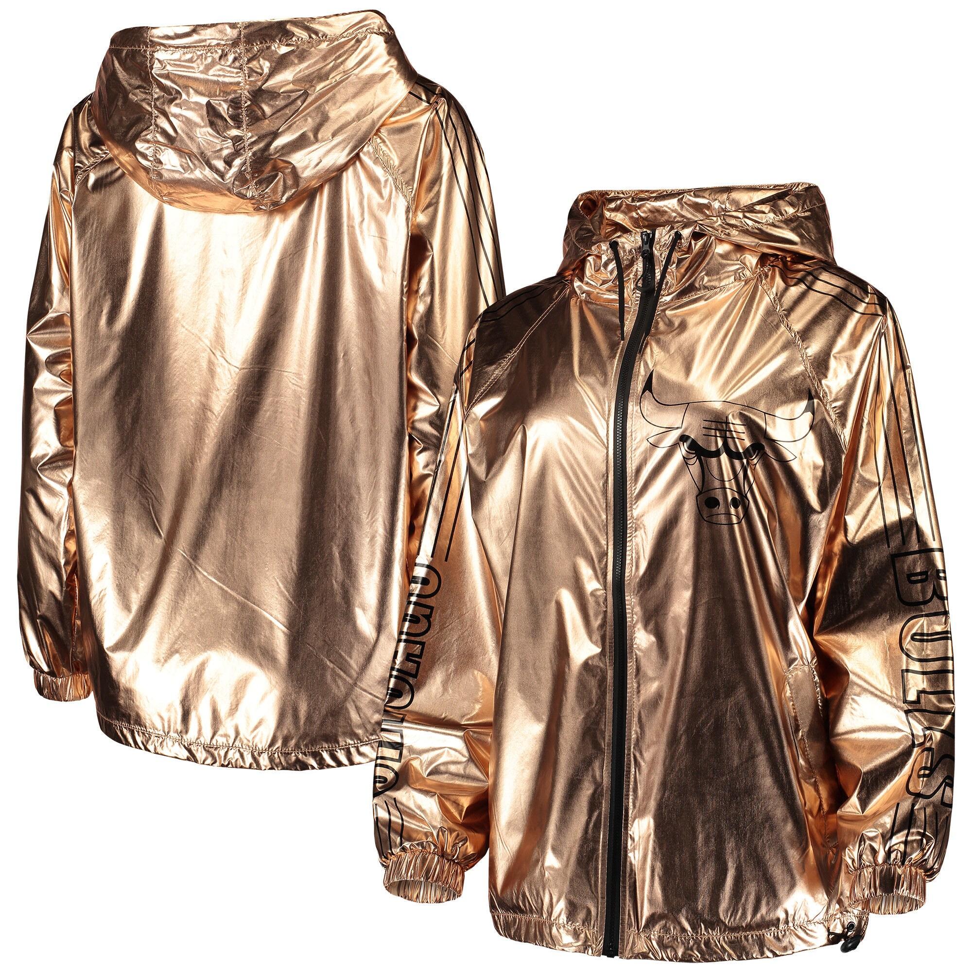 Chicago Bulls Touch by Alyssa Milano Women's Bring It Metallic Anorak Full-Zip Jacket - Rose Gold