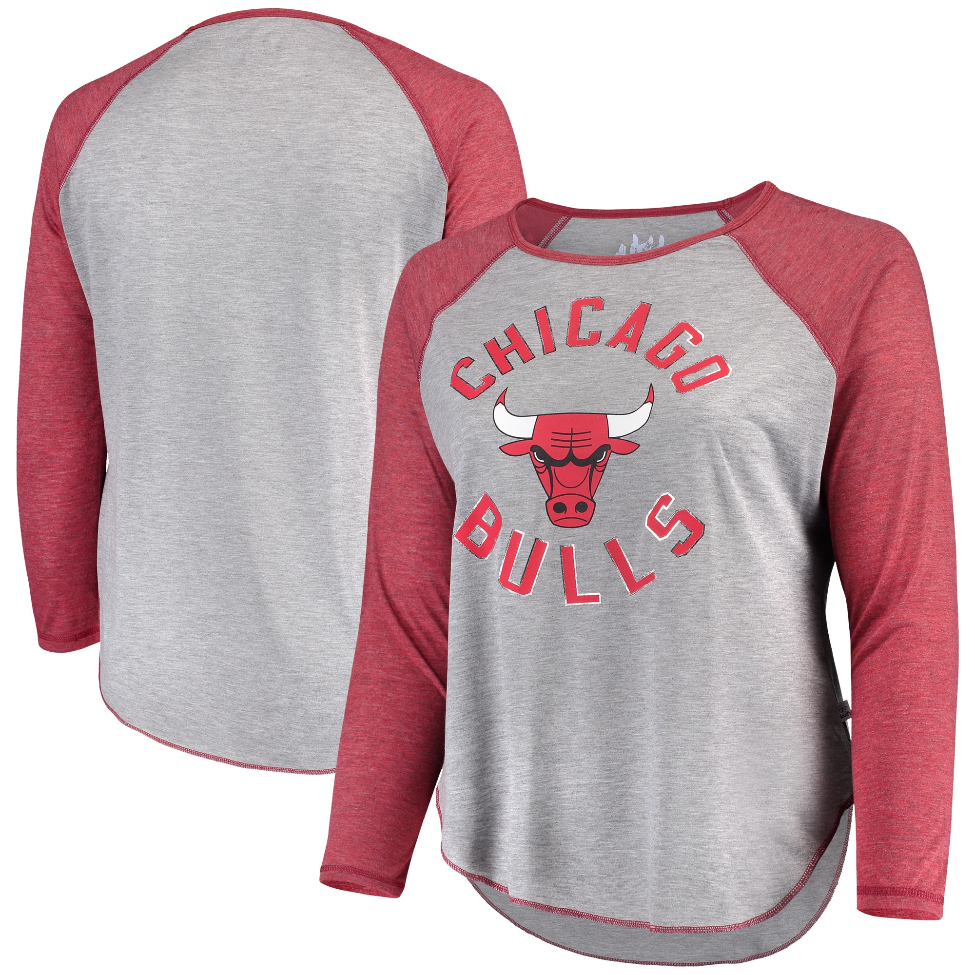 Chicago Bulls Touch by Alyssa Milano Women's Plus Size Line Drive Raglan Long Sleeve T-Shirt - Heathered Gray/Red