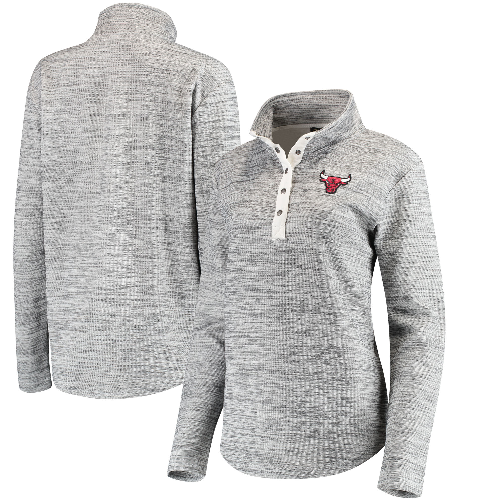 Chicago Bulls Women's Half-Snap Slub Pullover Sweatshirt - Heathered Gray