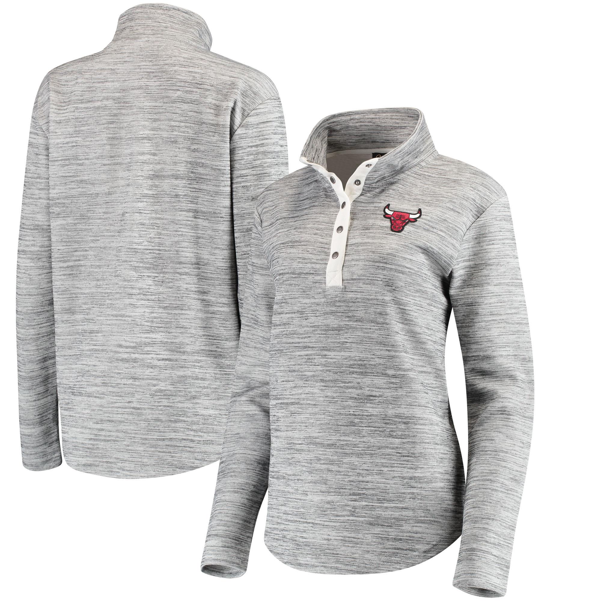 Chicago Bulls Women's Half-Snap Slub Pullover Sweatshirt - Heathered Gray