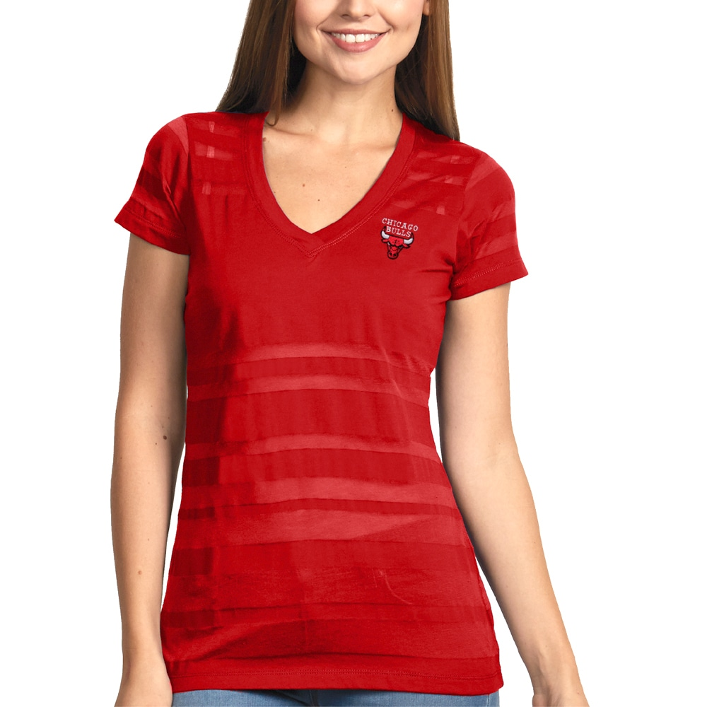 Chicago Bulls Antigua Women's Juke Burnout V-Neck T-Shirt - Red