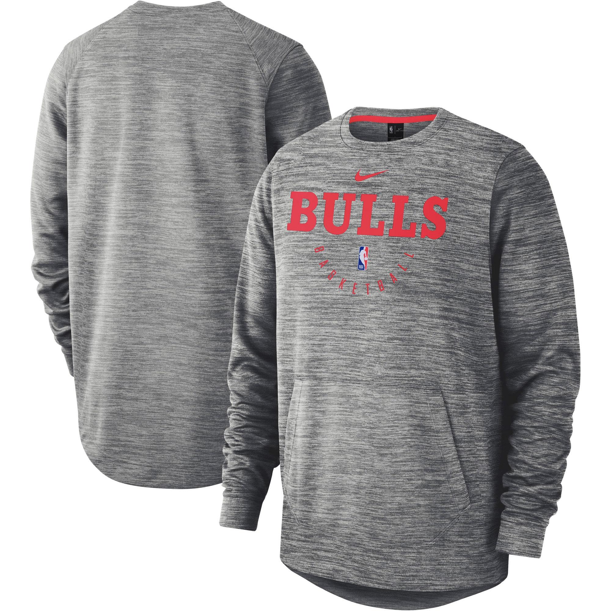 Chicago Bulls Nike Spotlight Performance Pullover Sweatshirt - Heathered Gray