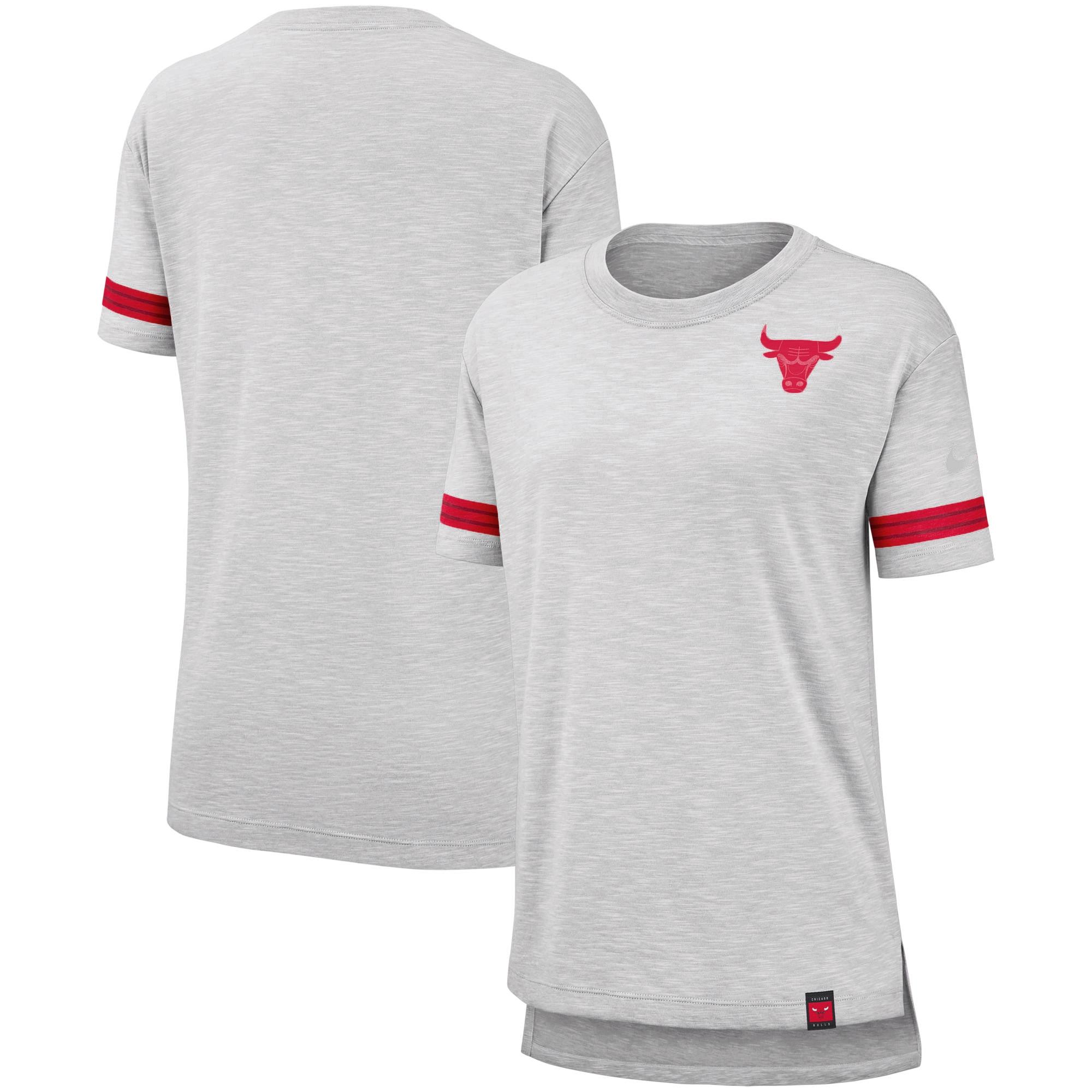 Chicago Bulls Nike Women's Color Rush Sleeve Stripe Slub T-Shirt - Heathered Gray