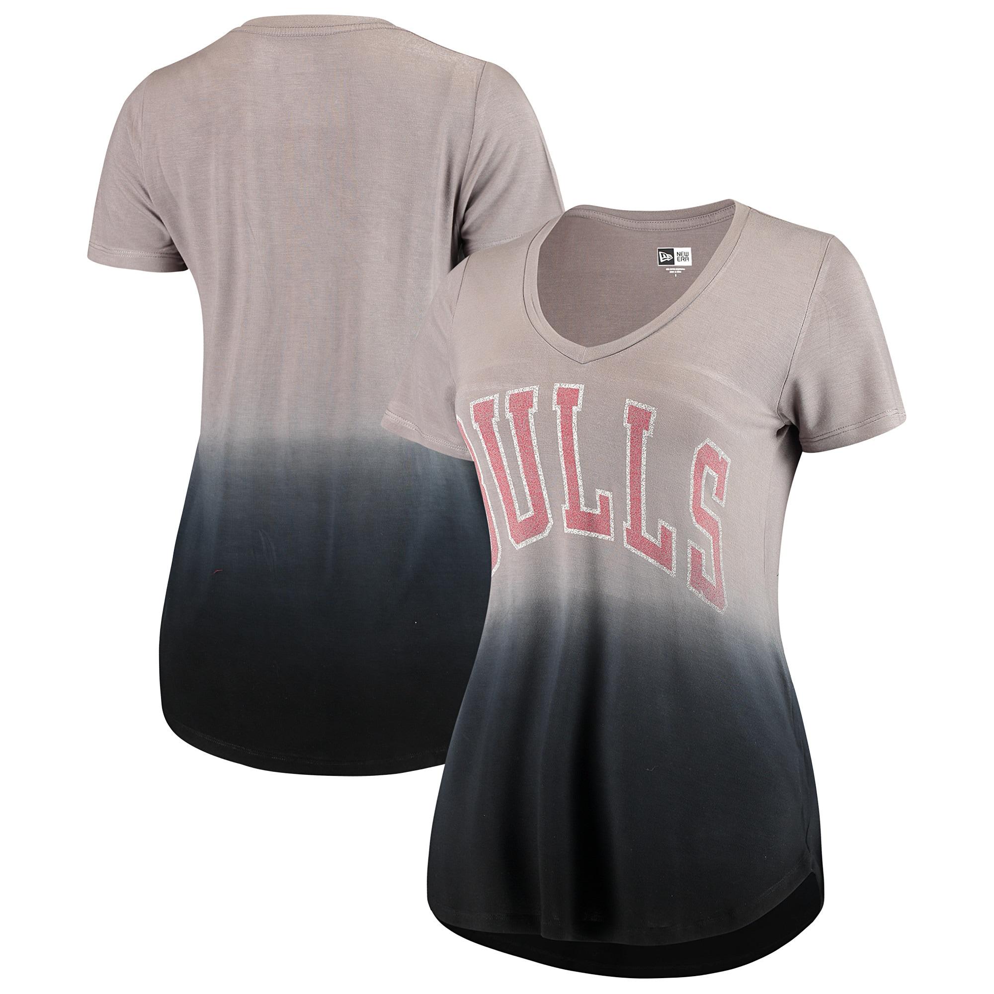 Chicago Bulls New Era Women's Jersey Dip-Dye V-Neck T-Shirt - Gray/Black