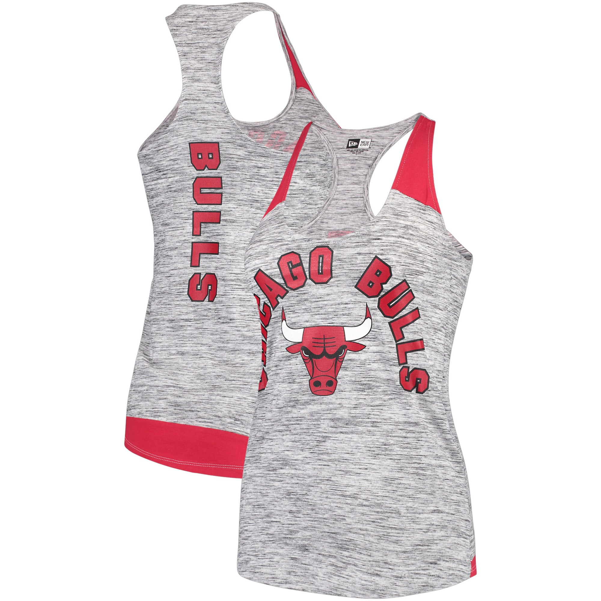Chicago Bulls New Era Women's Space Dye Racer Back Tank Top - Black/Red