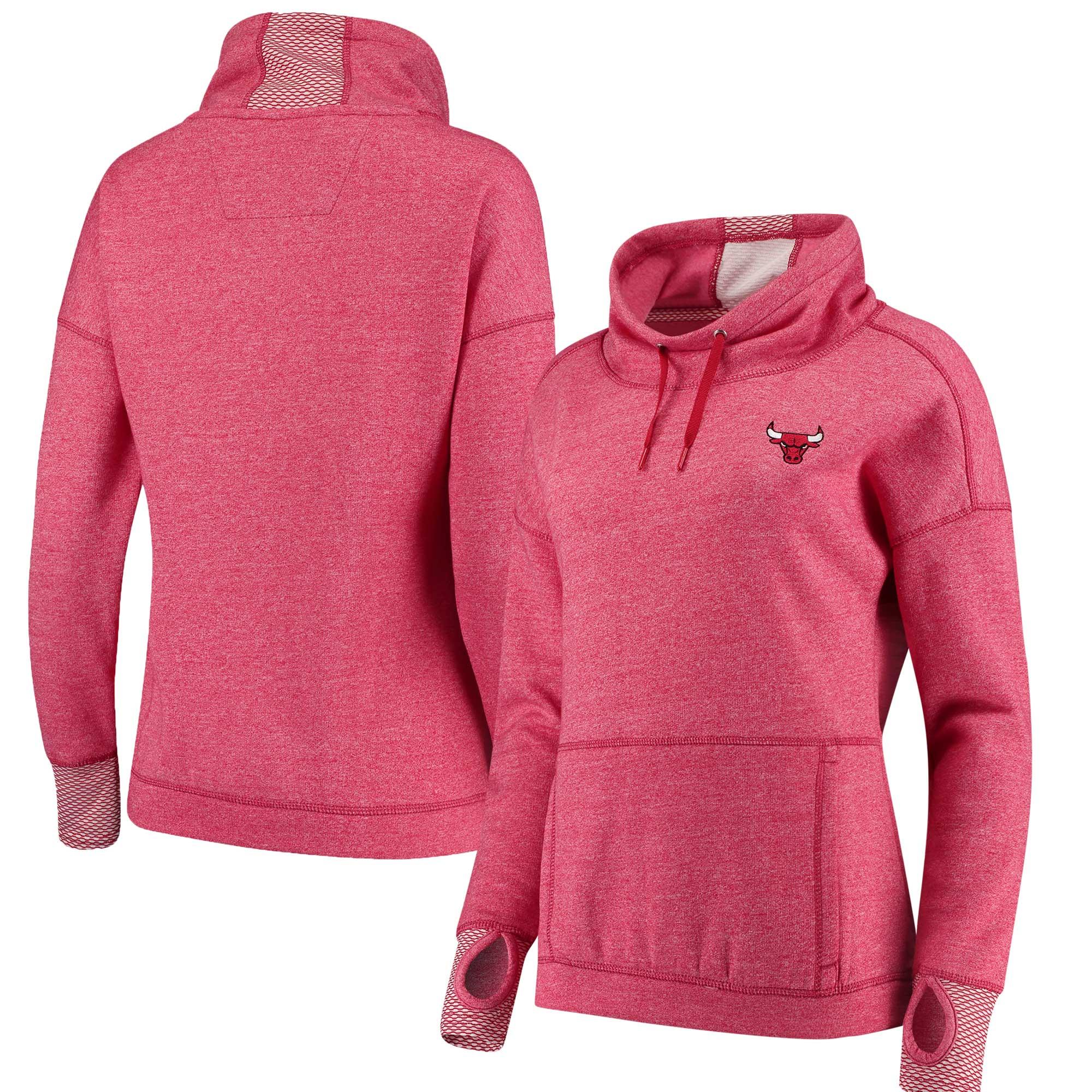 Chicago Bulls Antigua Women's Snap Cowl Neck Pullover Sweatshirt - Heathered Red