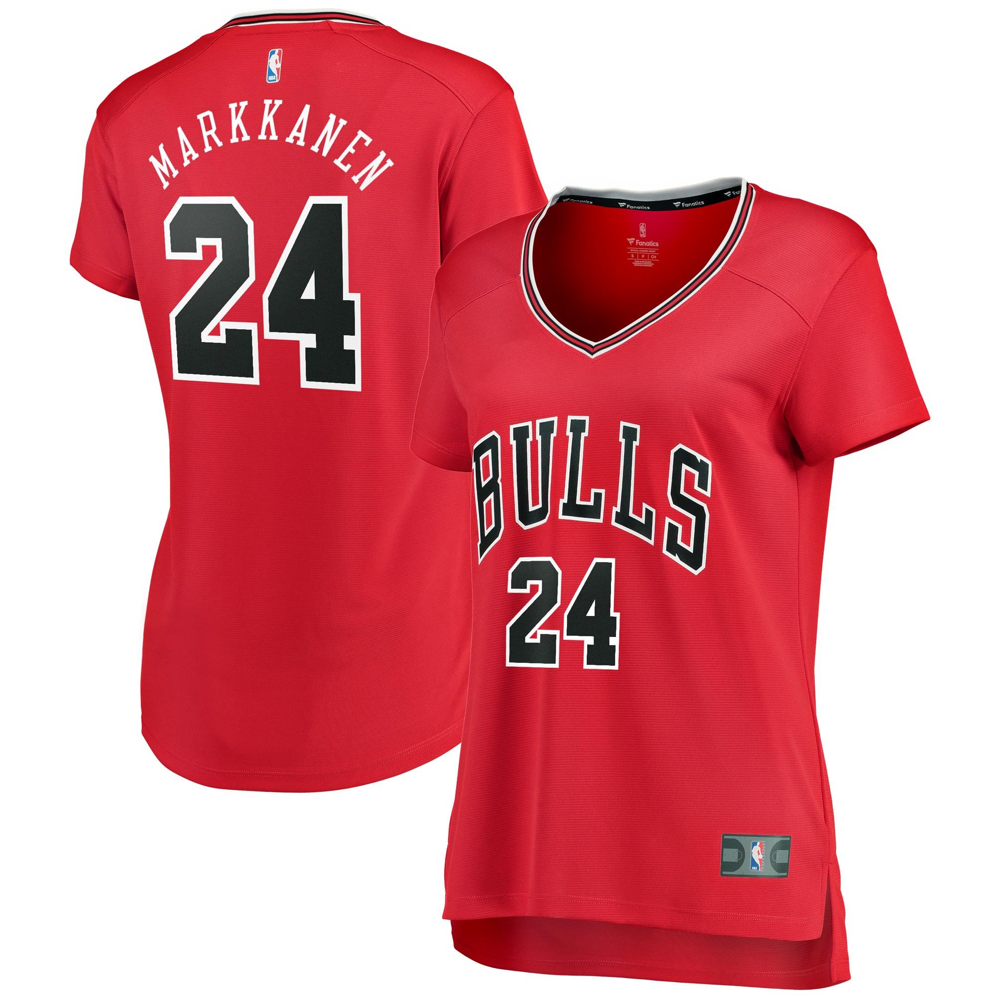 Lauri Markkanen Chicago Bulls Fanatics Branded Women's Fast Break Iconic Edition Jersey - Red